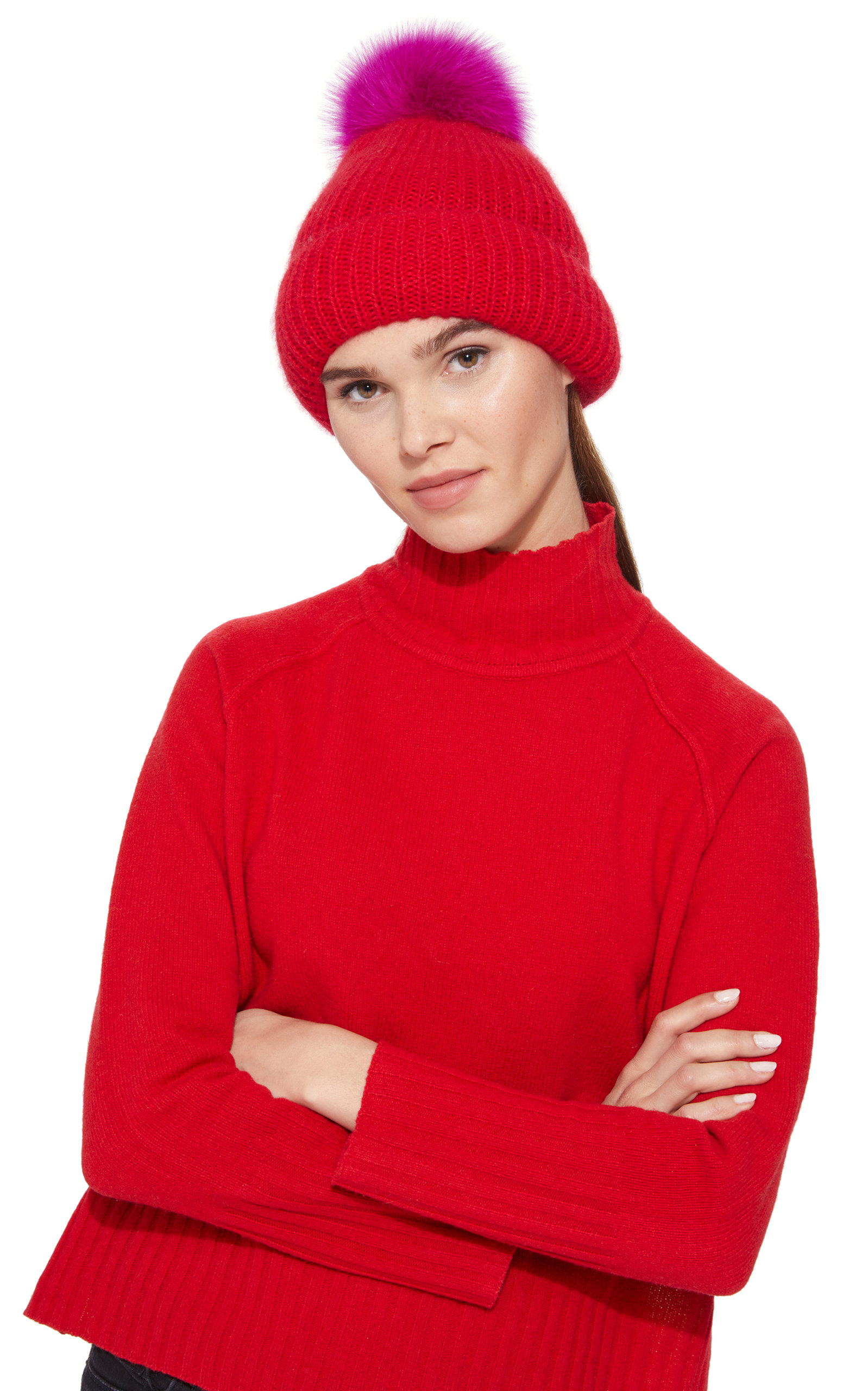 5d93def7fee Eugenia Kim Faux Fur Pom Pom Hat In Red