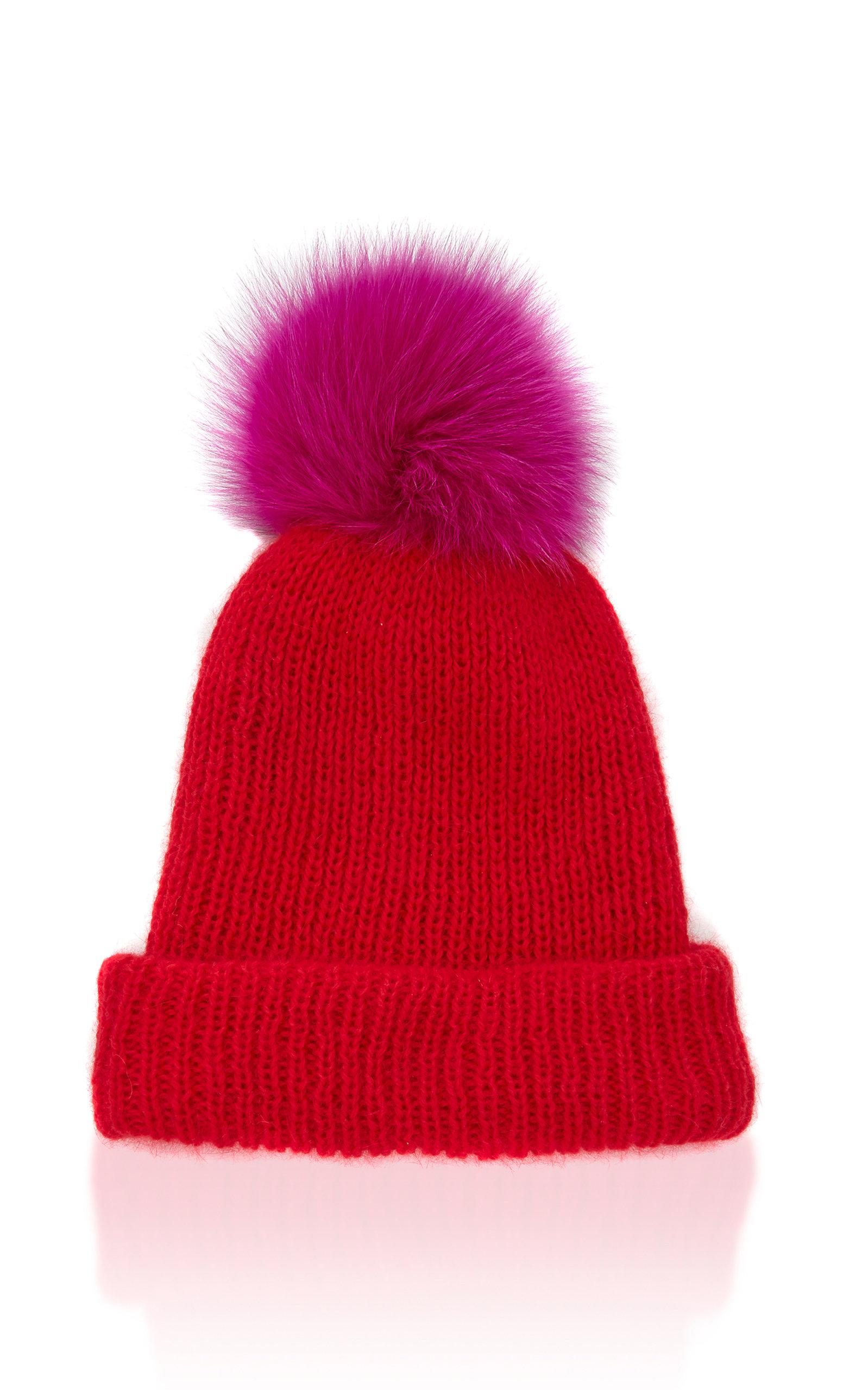 Faux Fur Pom Pom Hat in Red