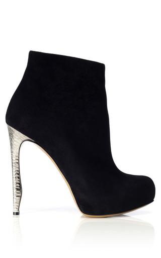 Medium nicholas kirkwood silver suede metal heel boot