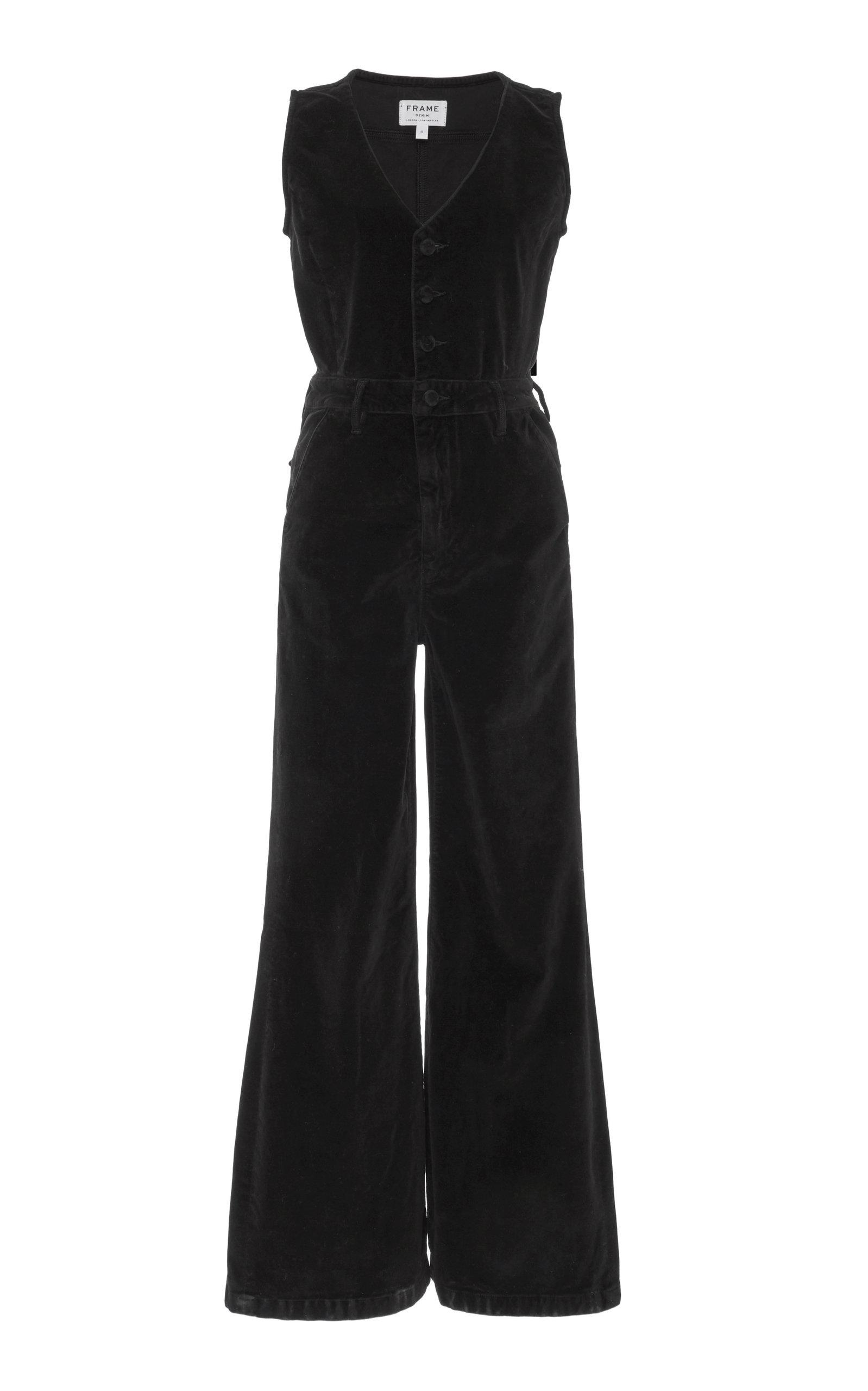 Le Velveteen Button Front Jumpsuit, Black