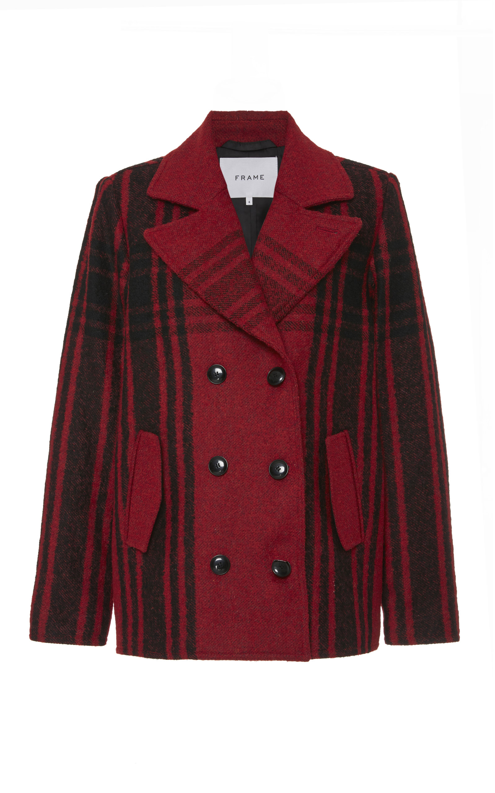 Buffalo Check Peacoat in Red