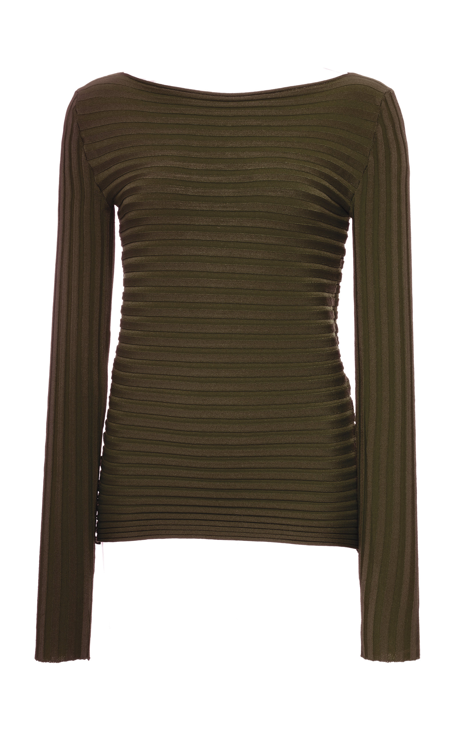 PEPA POMBO Ribbed Blouse in Green