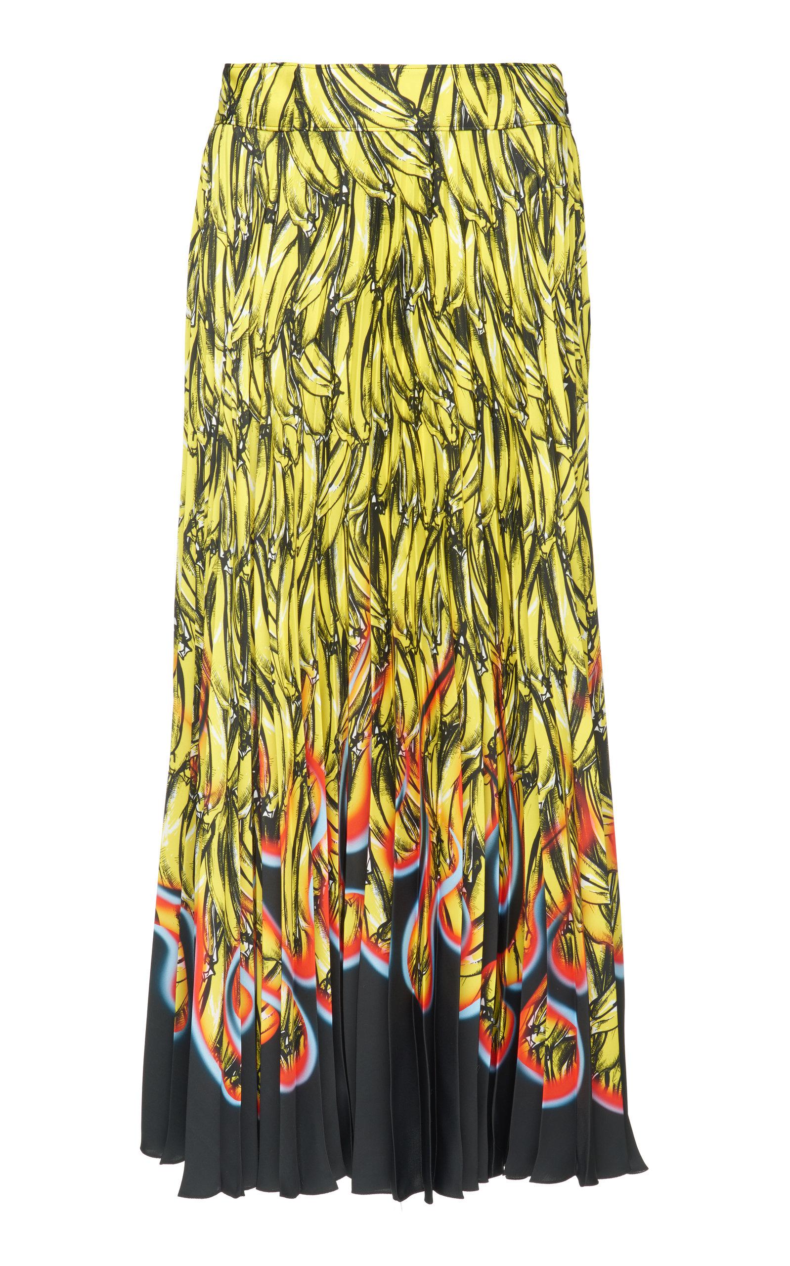 Pleated Banana- & Flame-Print Satin Skirt