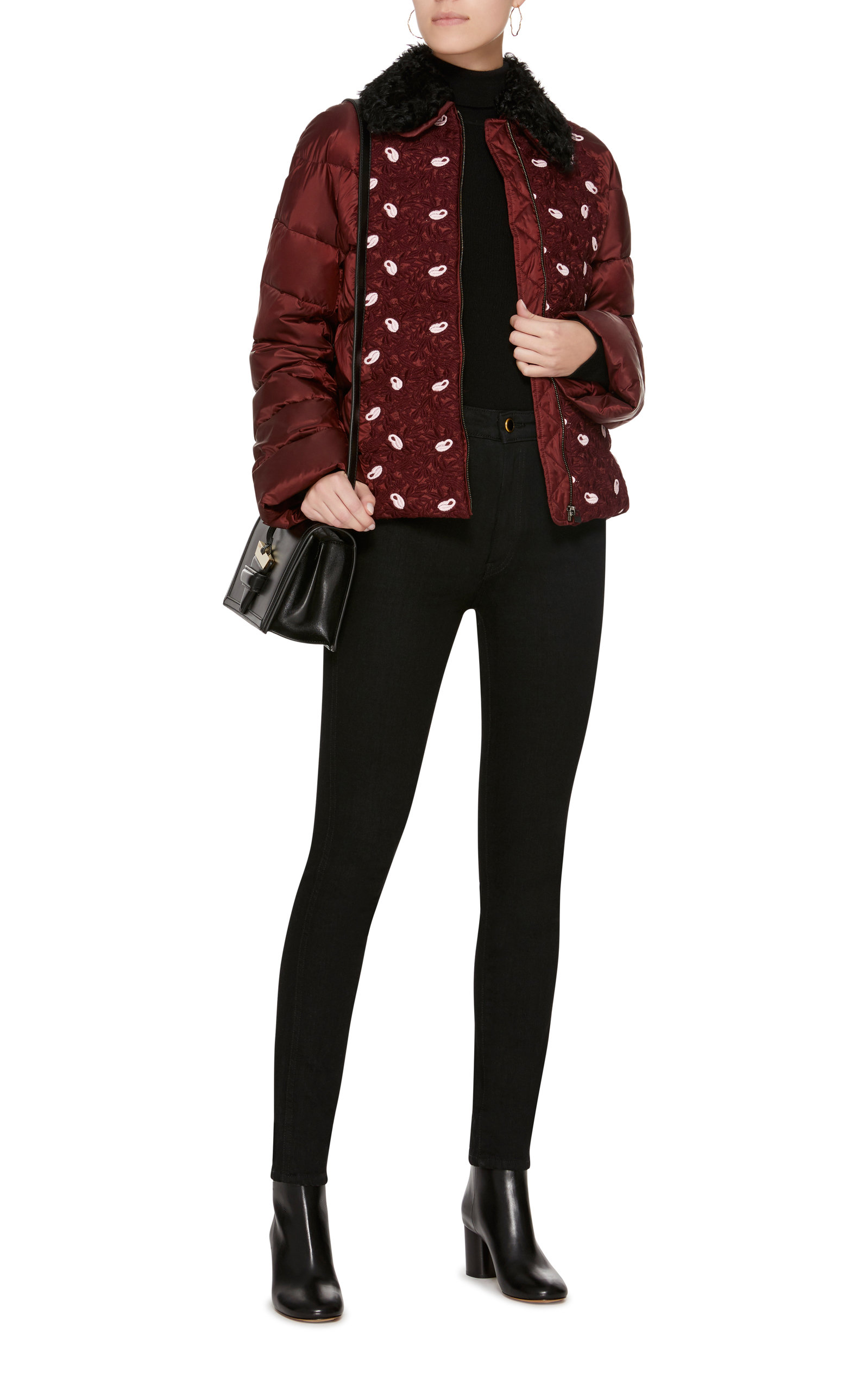 Jacket In Lace Valli Burgundy Puffer Giambattista AppliquÉ Floral nYxBS1wtwX