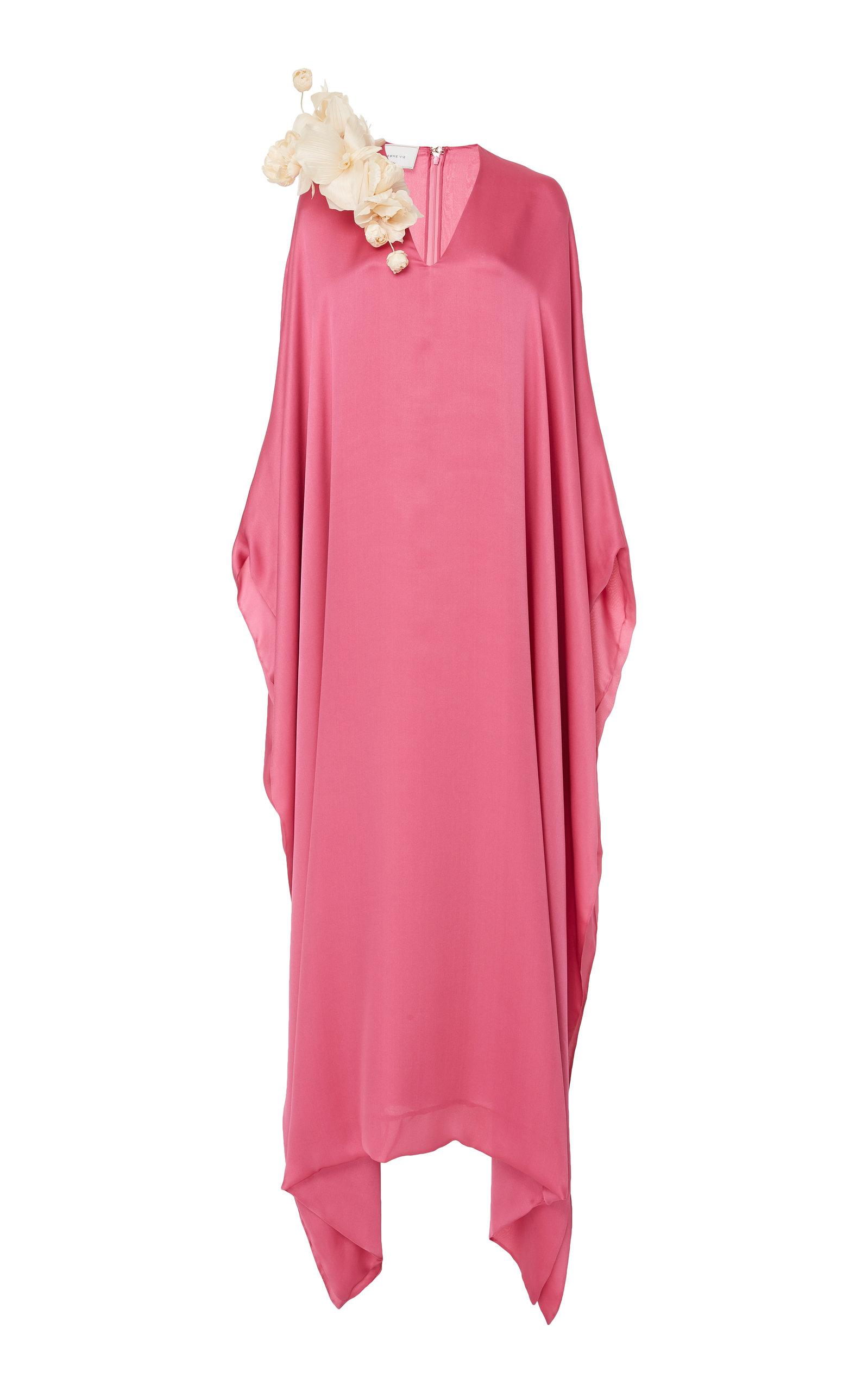 ESME VIE M'O Exclusive Floral-Appliquéd Silk-Satin Kaftan in Pink