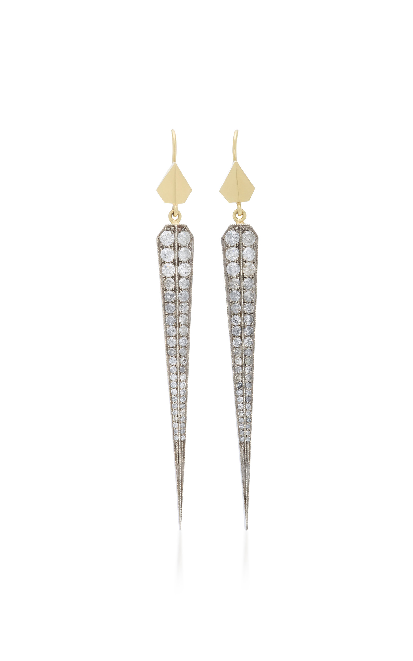 18K Gold Sterling Silver and Diamond Earrings Sylva & Cie. Classic Outlet With Paypal Outlet Cheapest fkNOo0