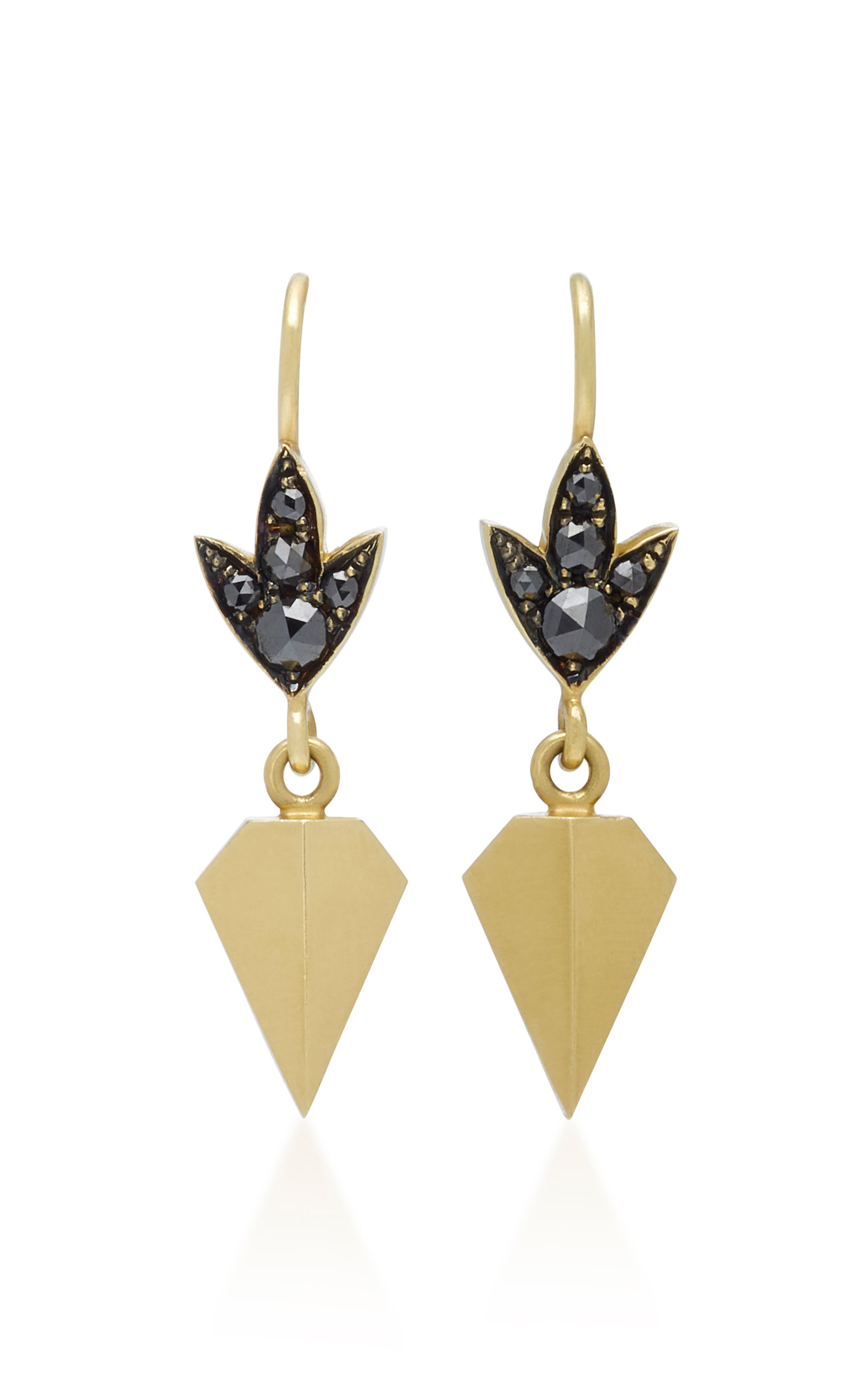 SYLVA & CIE 18K GOLD BLACK DIAMOND EARRINGS