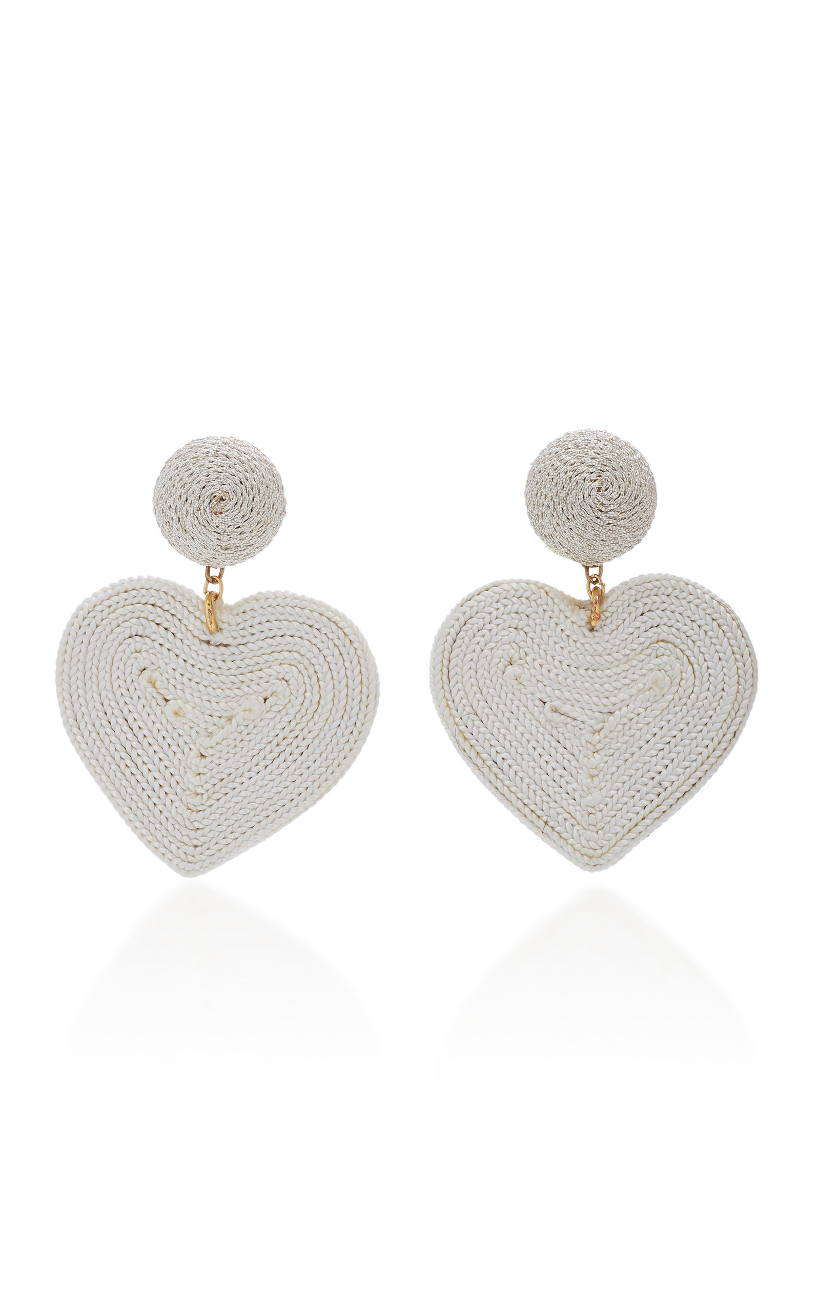 Cora Cord And Gold-Plated Clip Earrings, White
