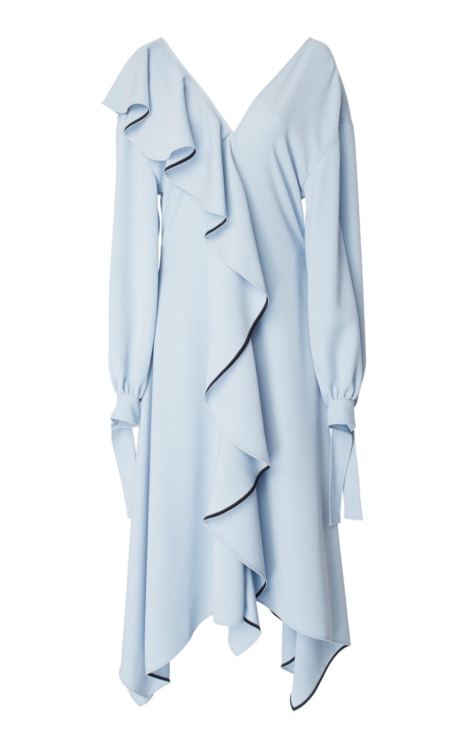 ADEAM Ruffle Dress in Blue