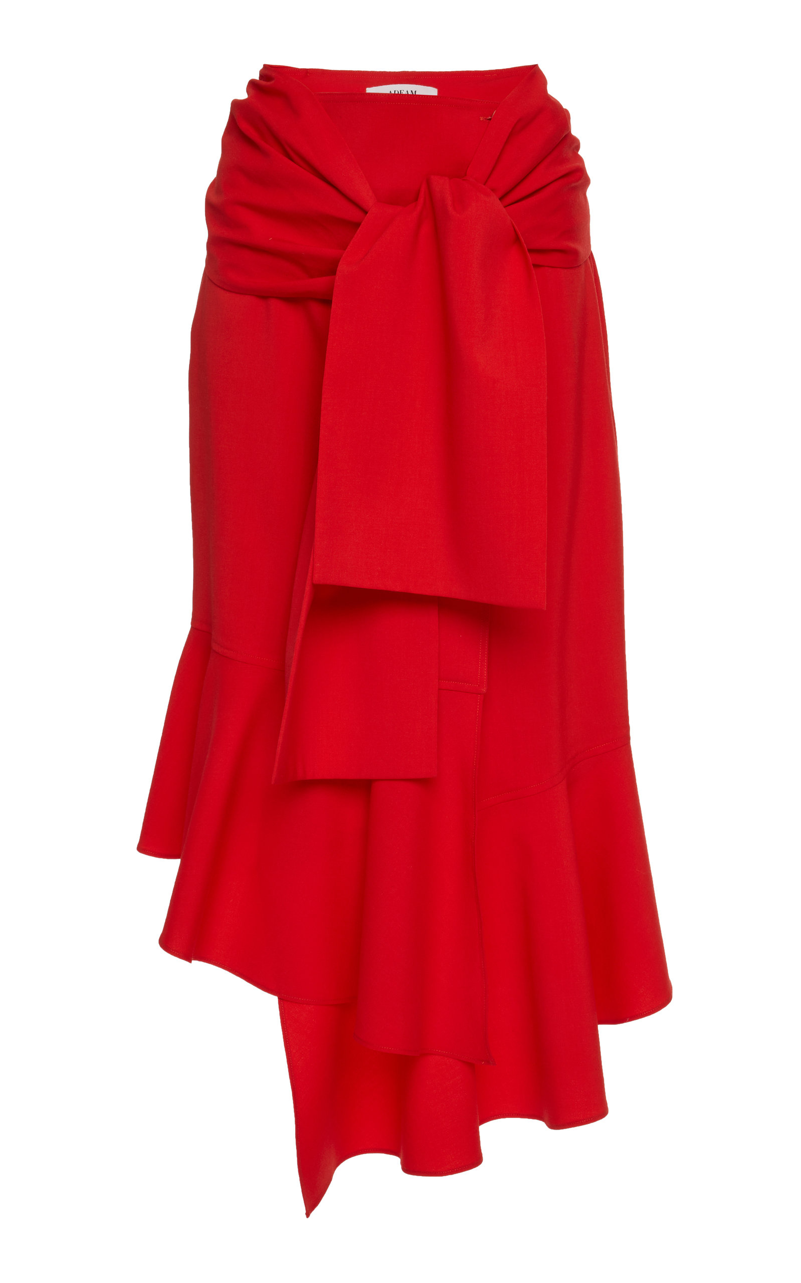 ADEAM Tie Wrap Wool Midi Skirt in Red
