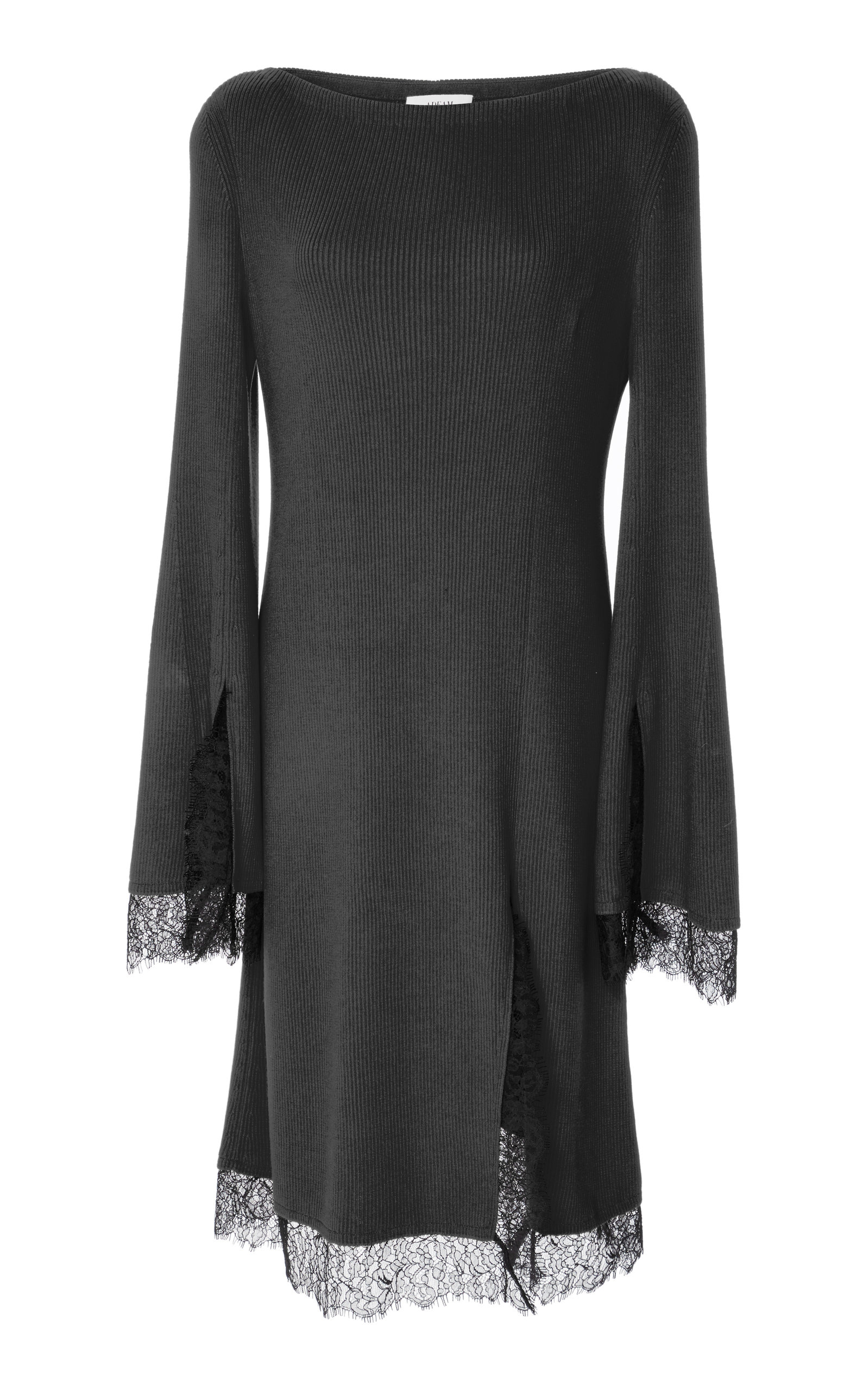 ADEAM Lace Trimmed Slit Knit Dress, Black