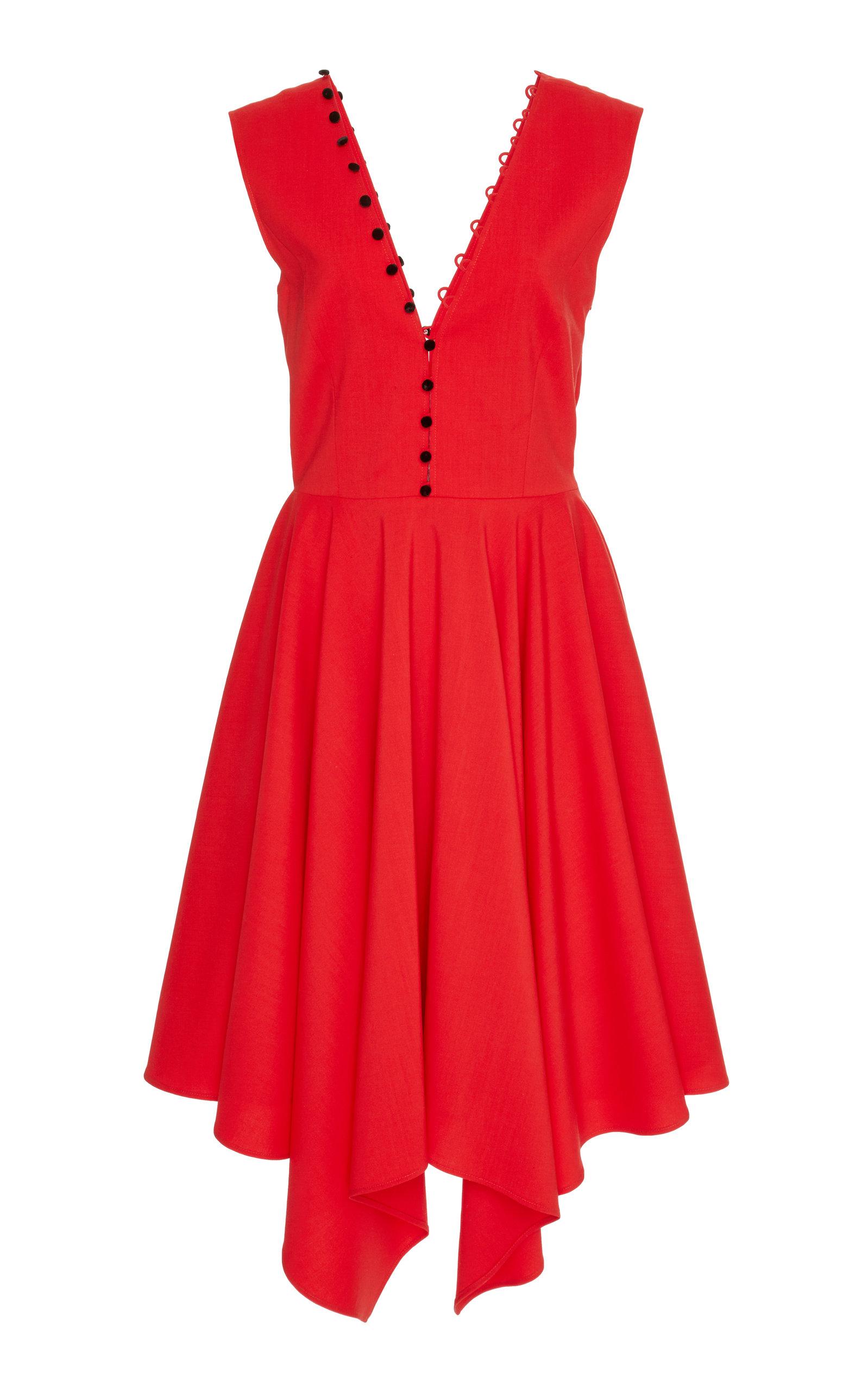 ADEAM Buttoned Handkerchief Dress in Red