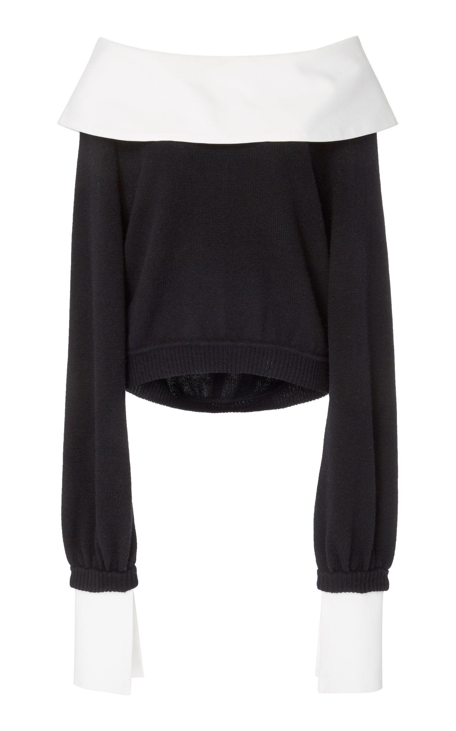 ADEAM Convertible Collared Cashmere Sweatshirt in Black