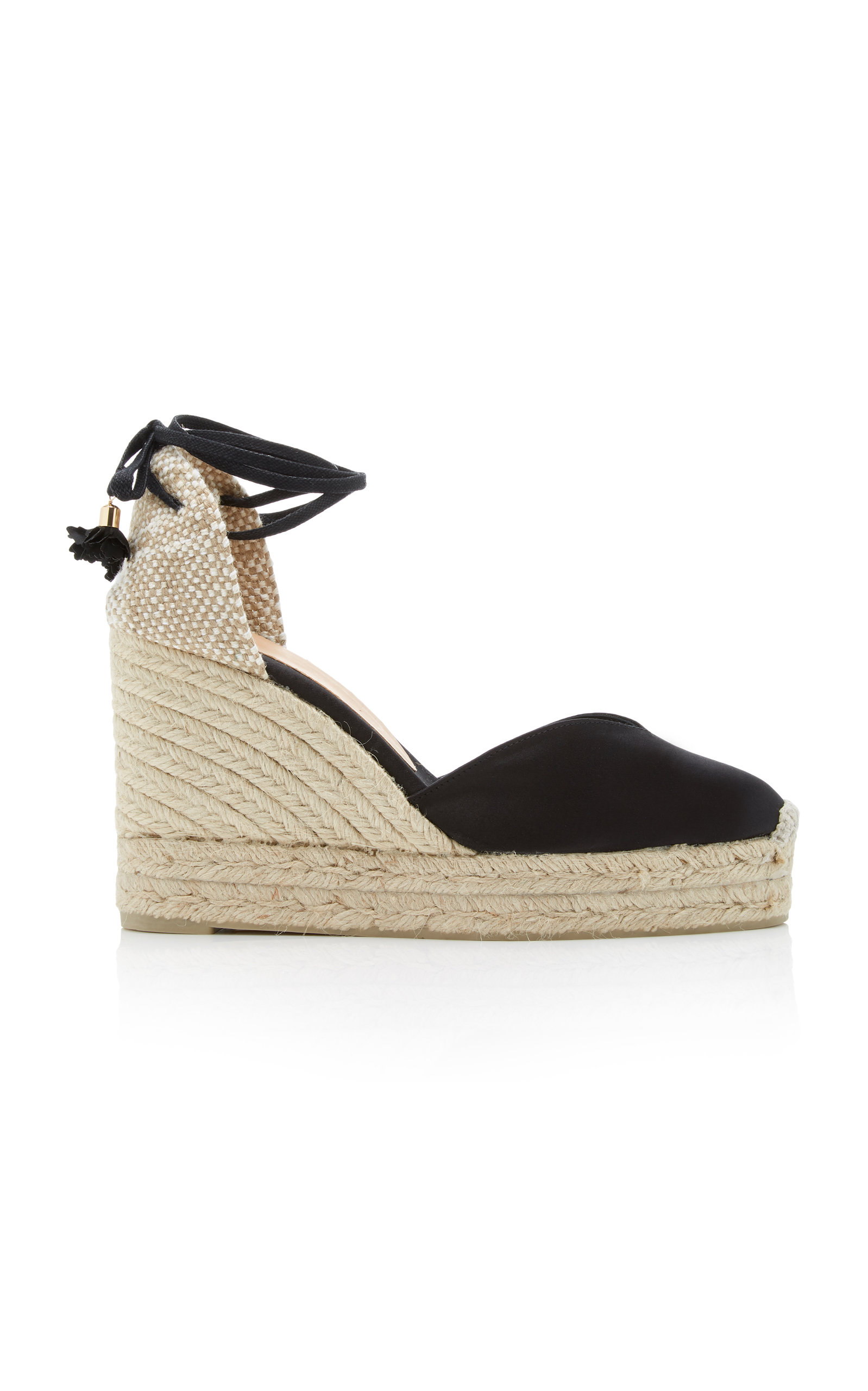 07db16e1966d CastaÑEr Carina Satin Wedge Espadrilles In Black