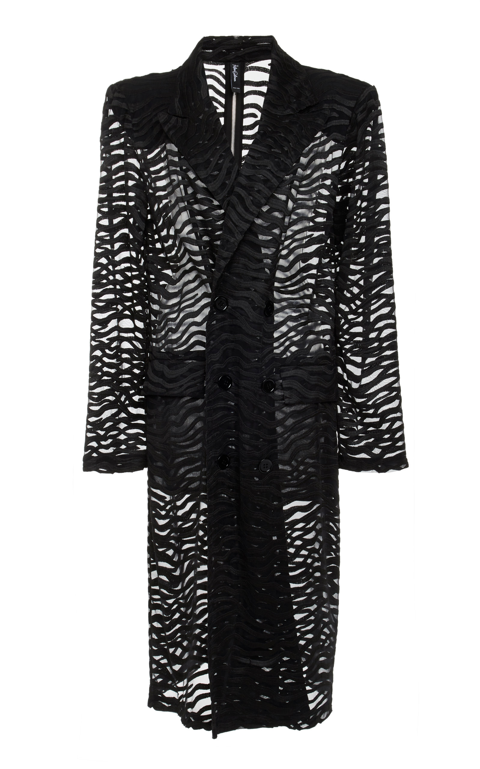 ADAM SELMAN Double Breasted Trench Coat  in Black