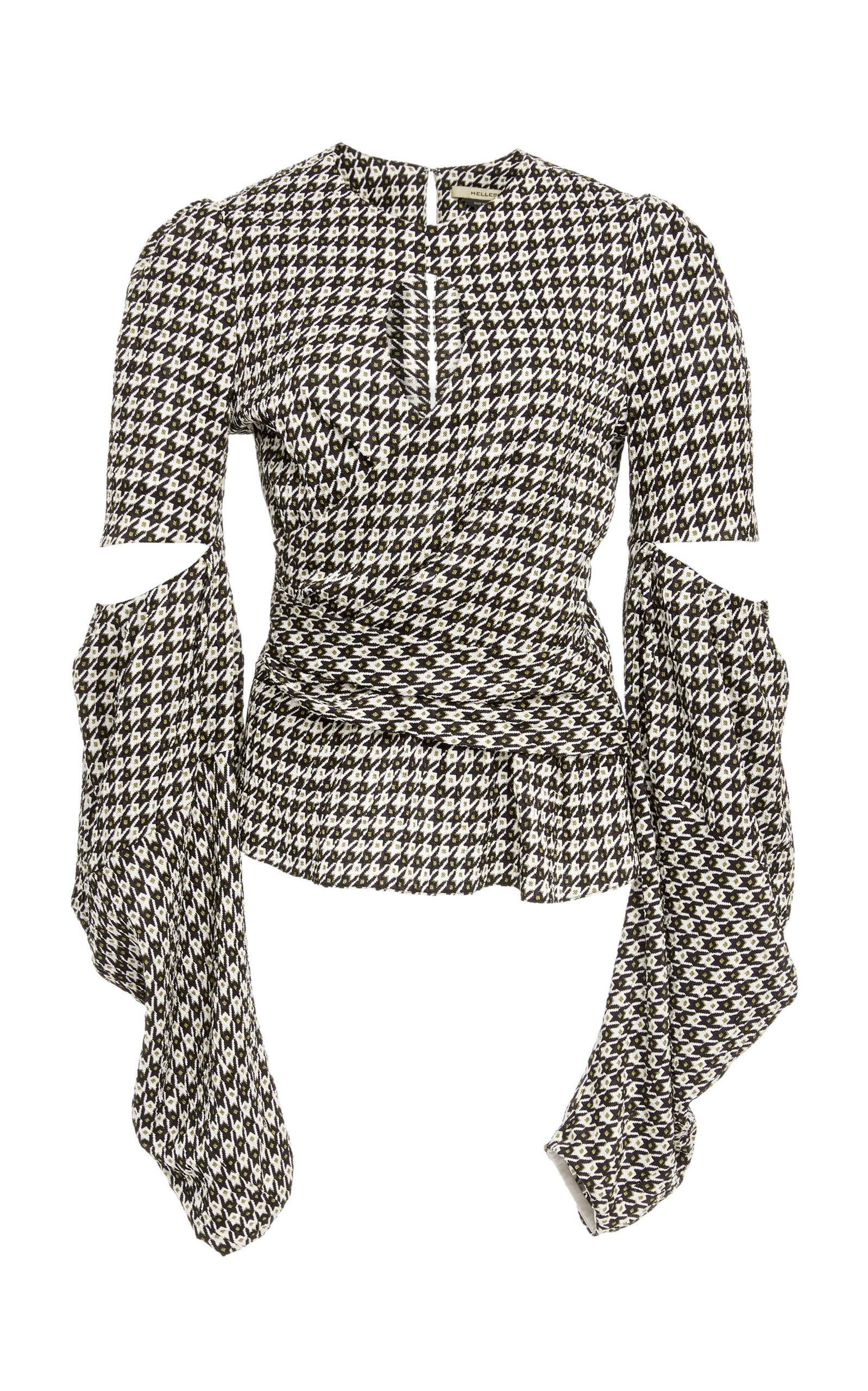 HELLESSY Celeste Cutout Houndstooth Jacquard Blouse in Black/White