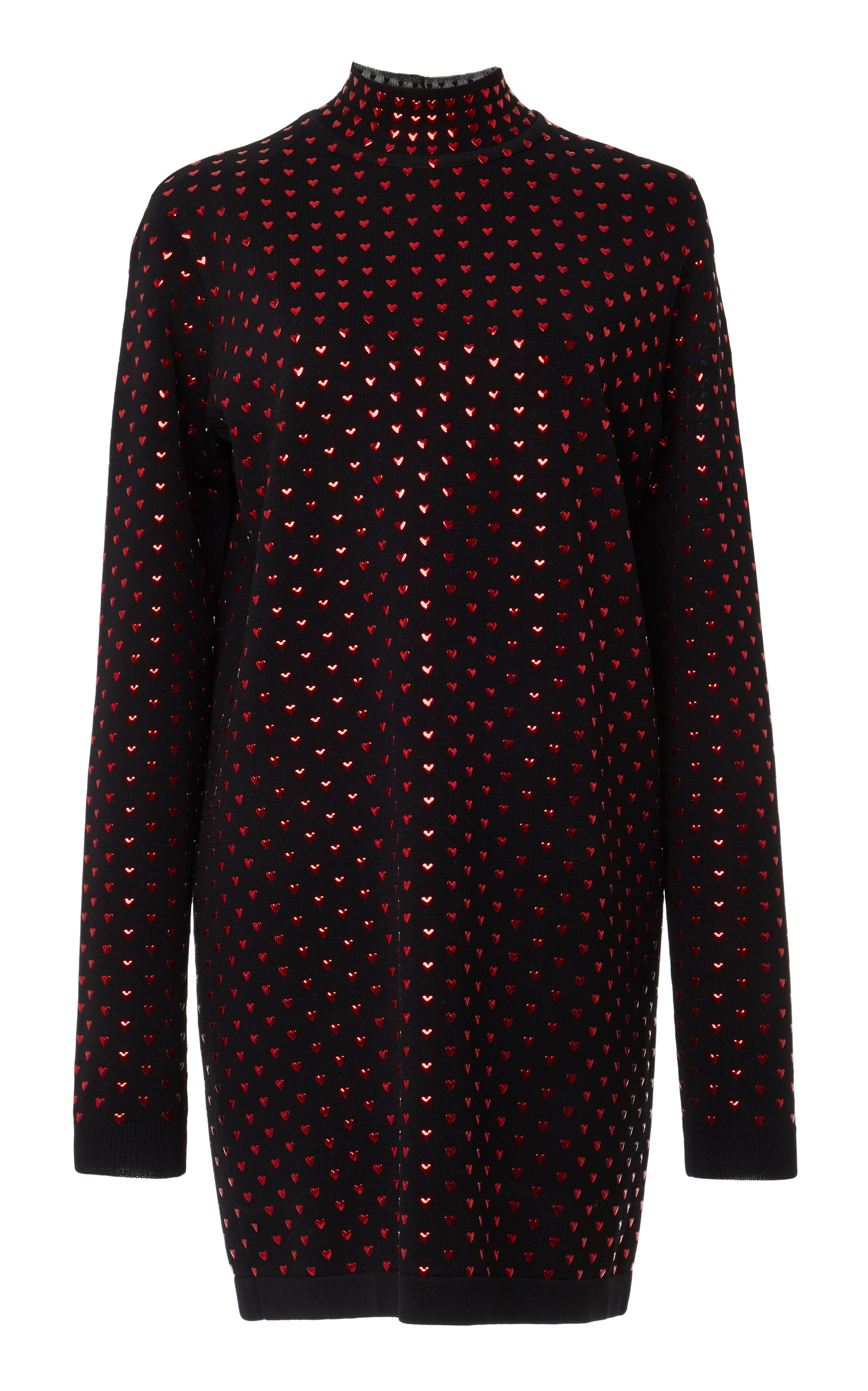 ADAM SELMAN Turtle Neck Heart Embellished Mini Dress in Black