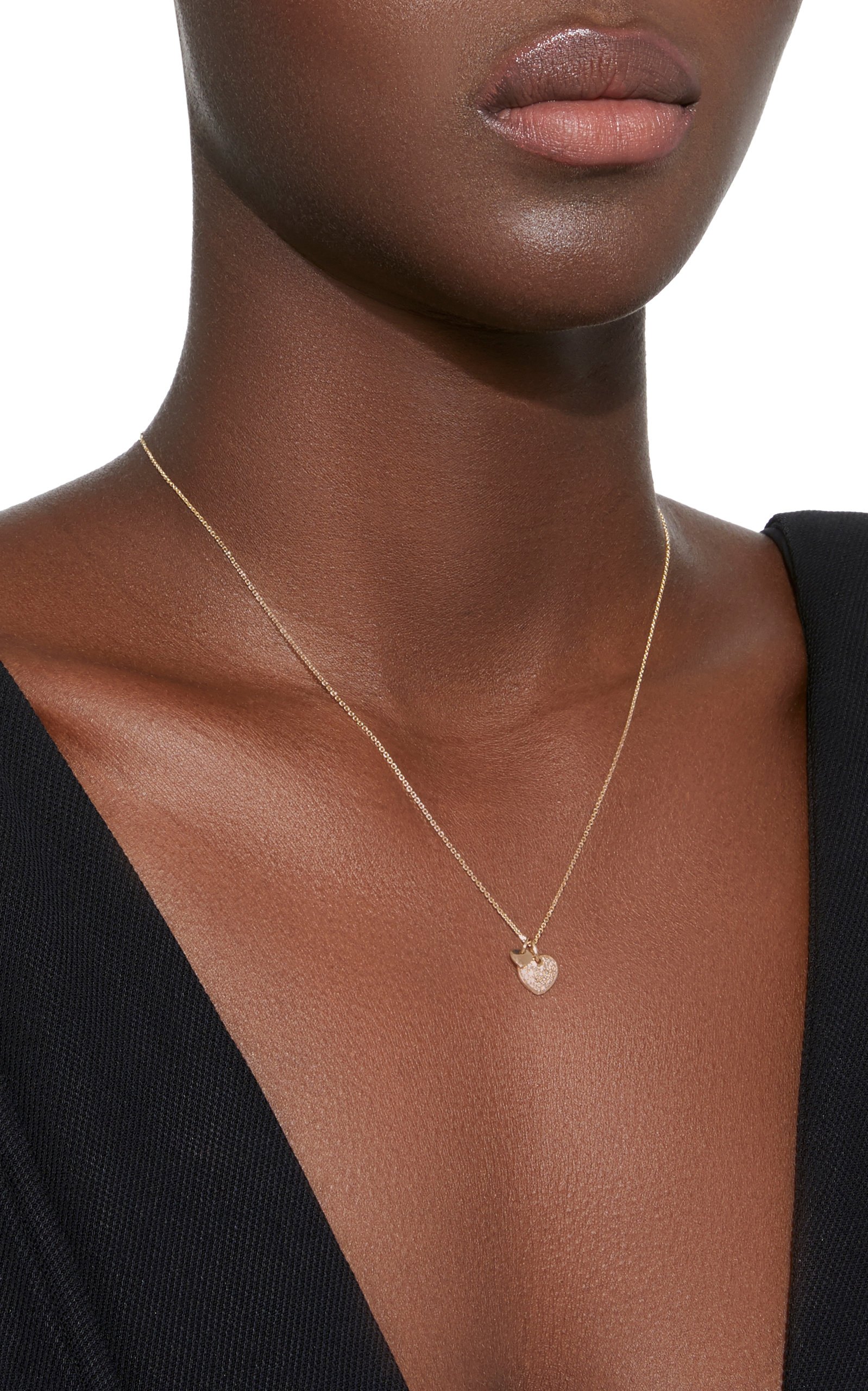 Two Hearts 18K Gold Diamond Necklace With Love Darling mTVtHLnSFn