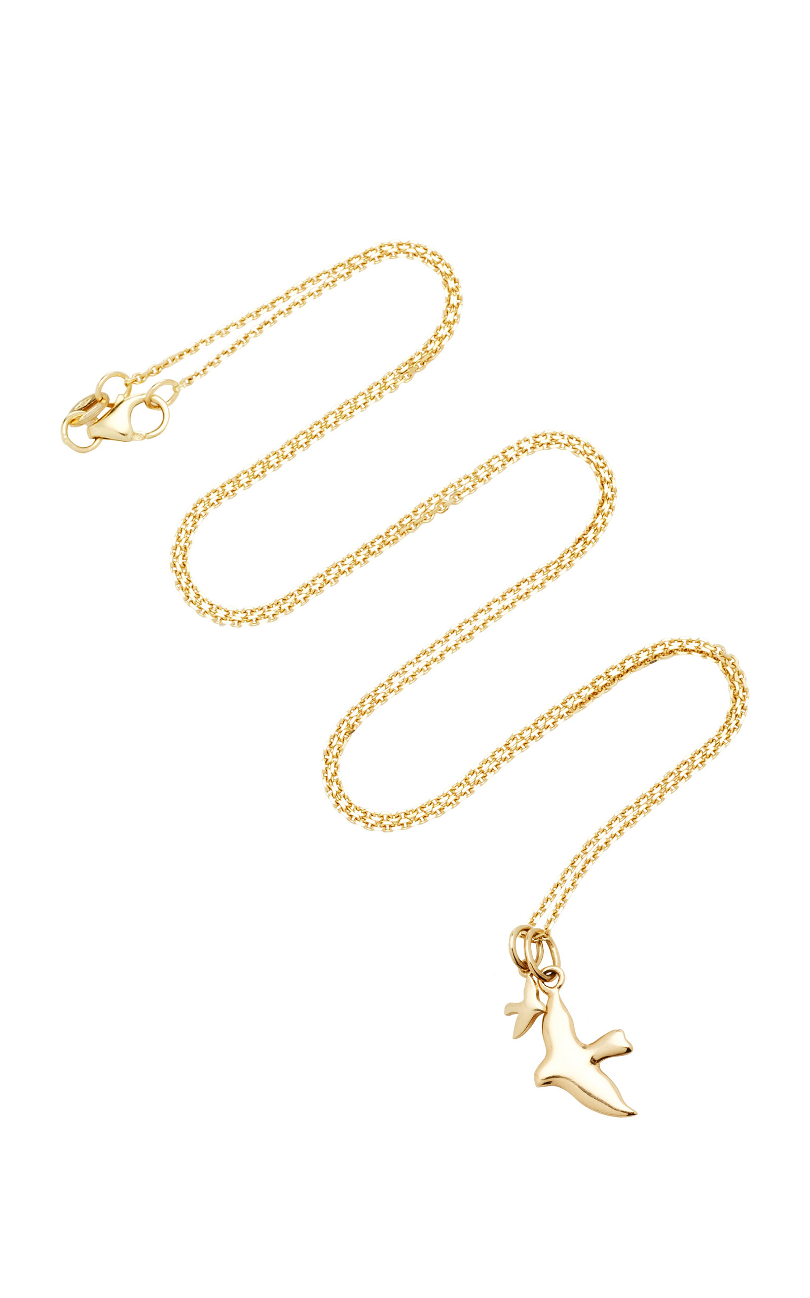 WITH LOVE DARLING TWO BIRDS 18K GOLD DIAMOND NECKLACE