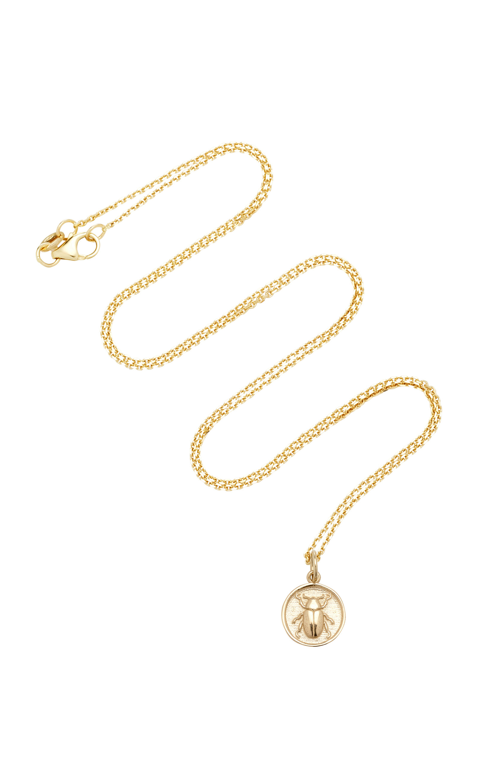 WITH LOVE DARLING BEETLE TOTEM 14K GOLD NECKLACE