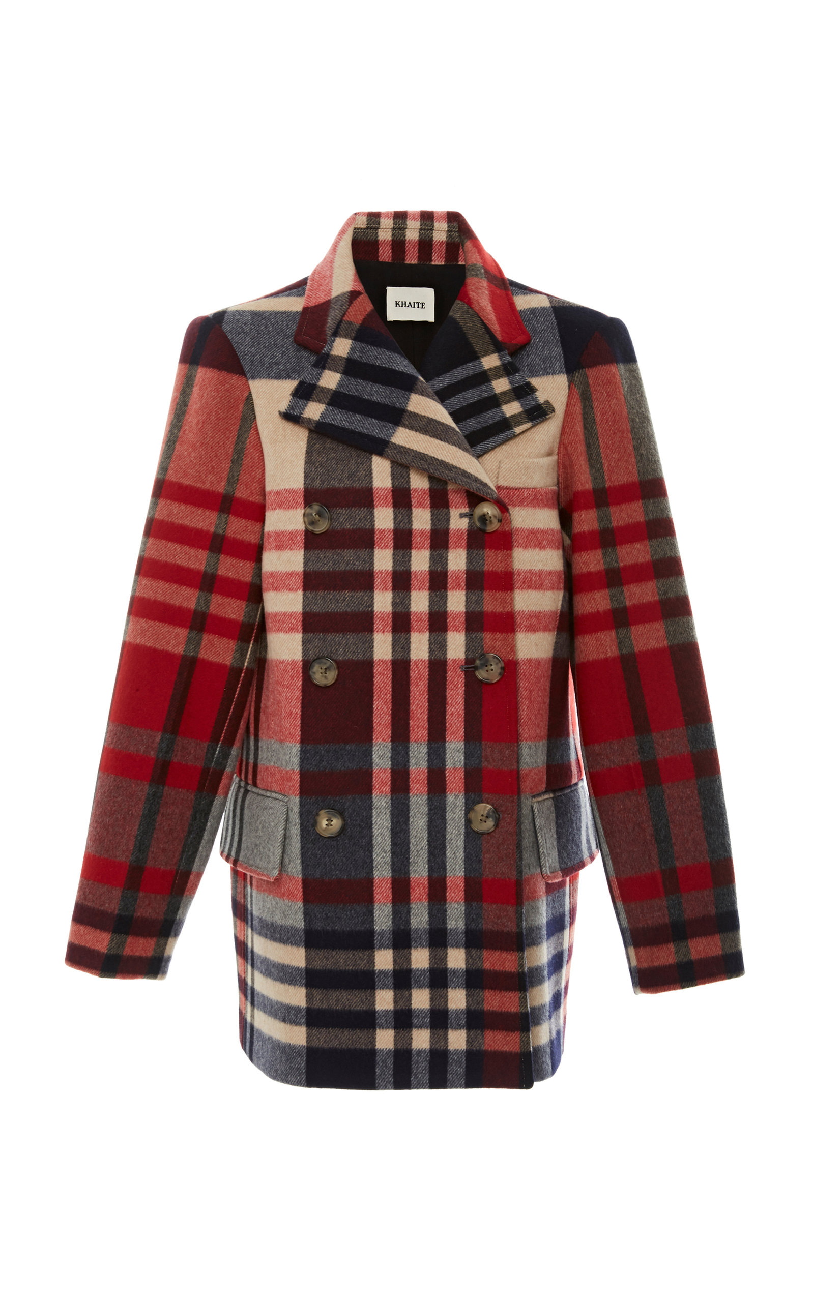 Clara Double-Breasted Checked Wool And Cashmere-Blend Coat, Plaid