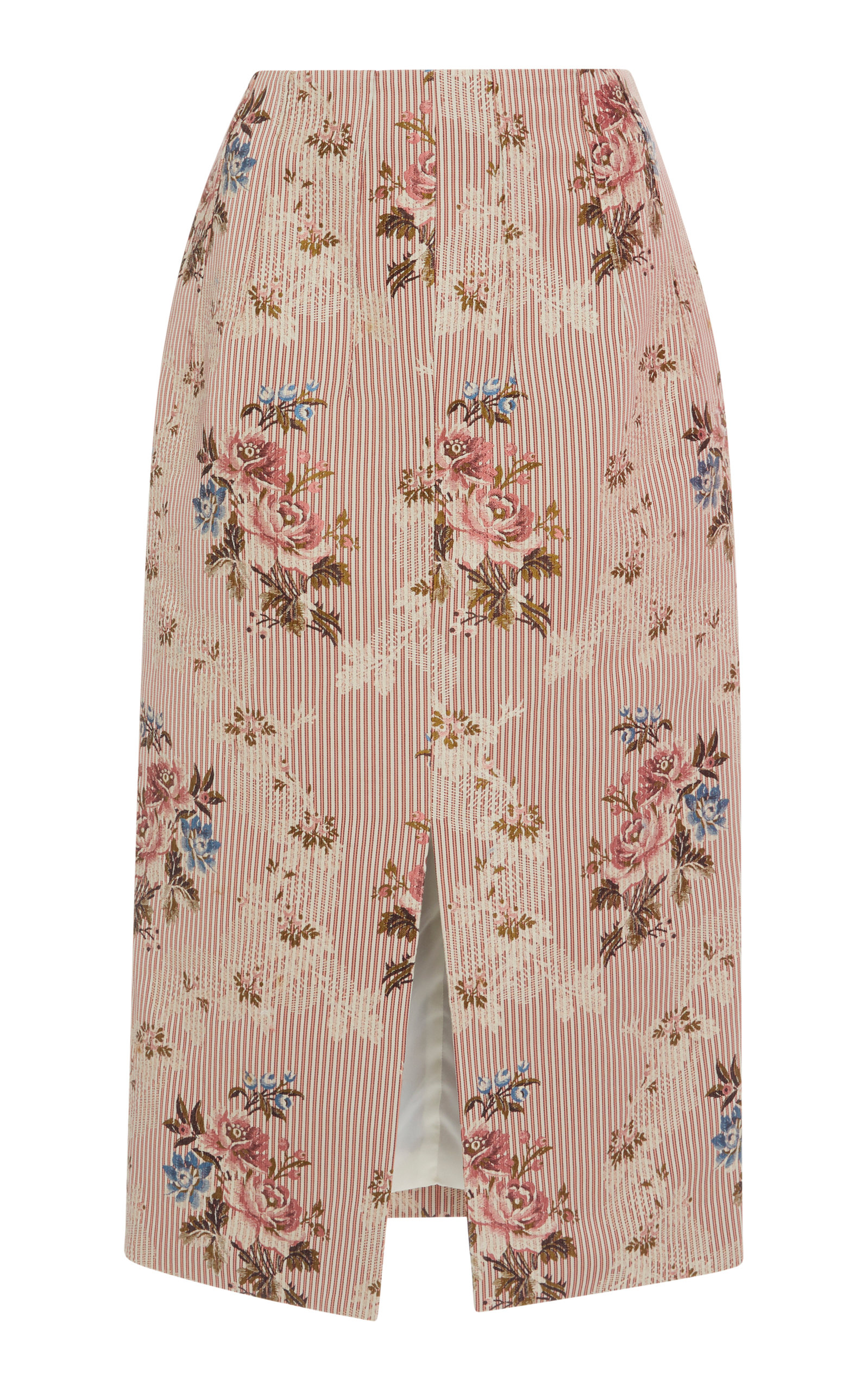 BROCK COLLECTION Sorrel Cotton And Silk-Blend Jacquard Skirt in Blush