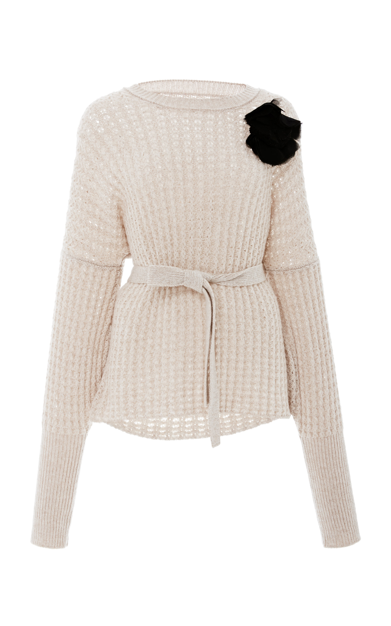 BROCK COLLECTION Kaori Corsage Marled Knit Sweater in Neutrals