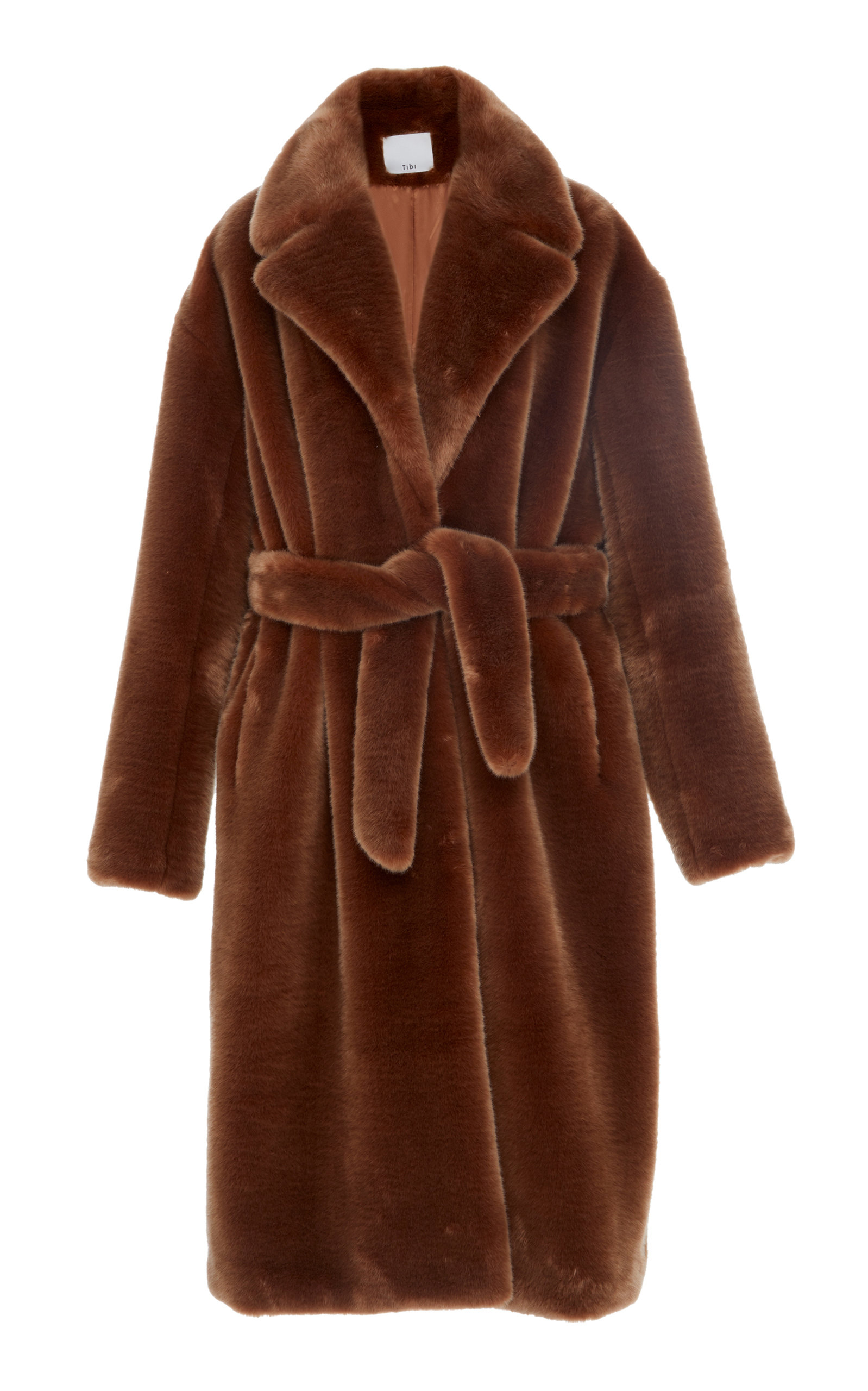Oversized Faux Shearling Coat, Brown