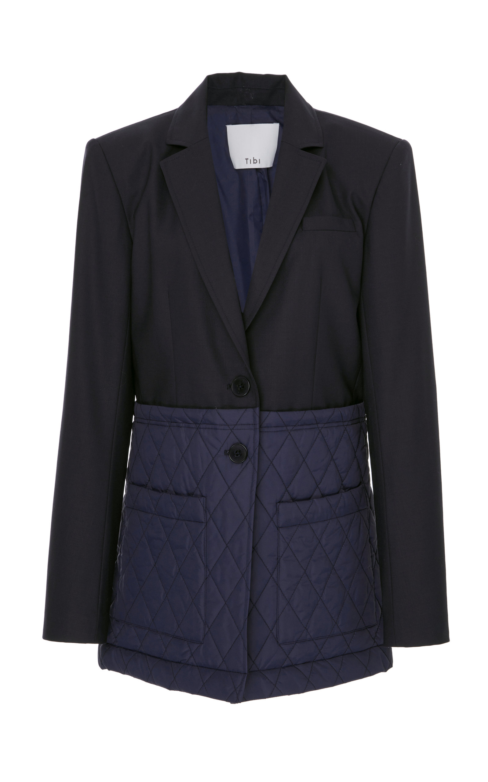Mixed Media Quilted Detail Oversize Jacket in Navy