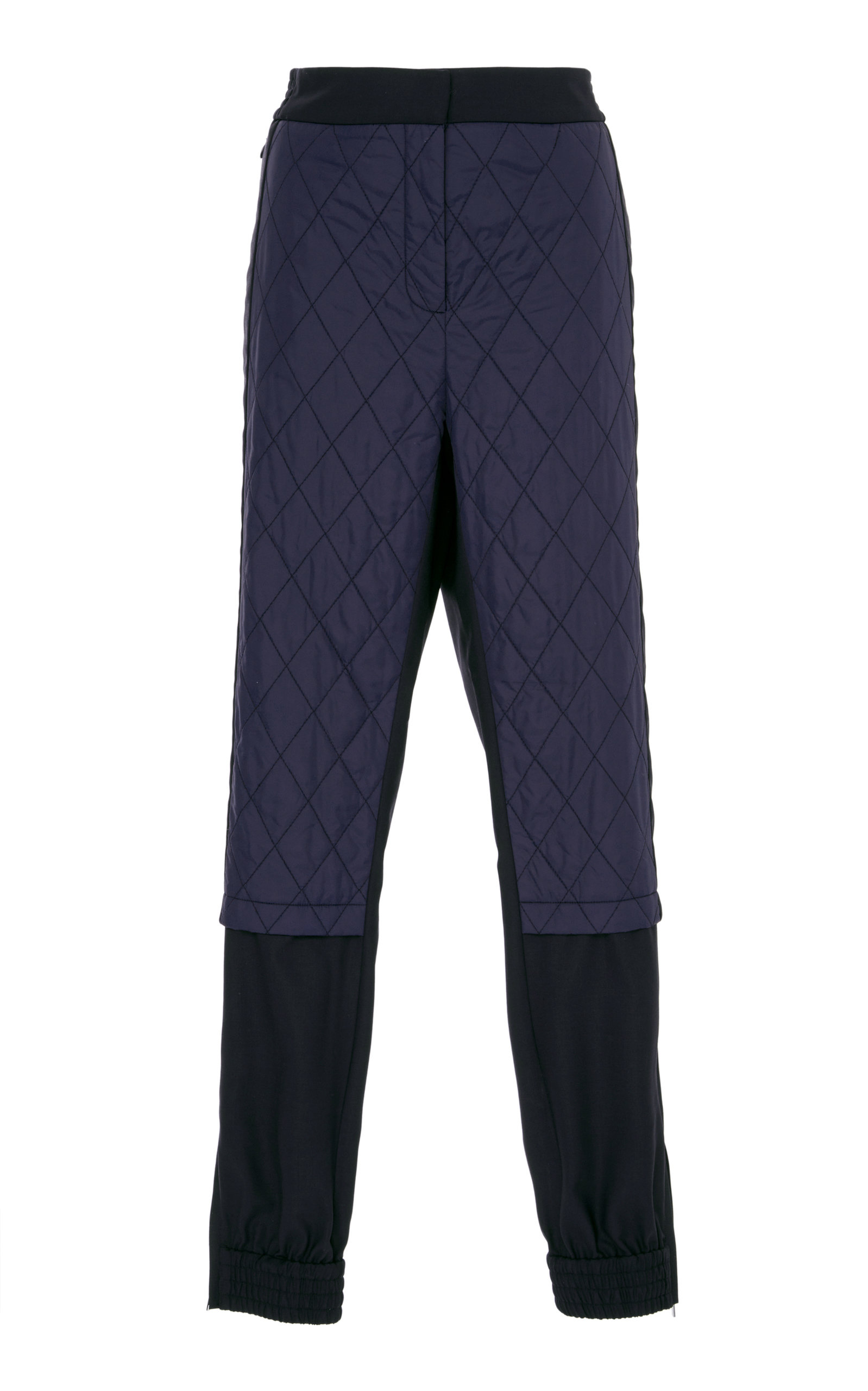 Mix Media Quilted Jogger Pants, Navy