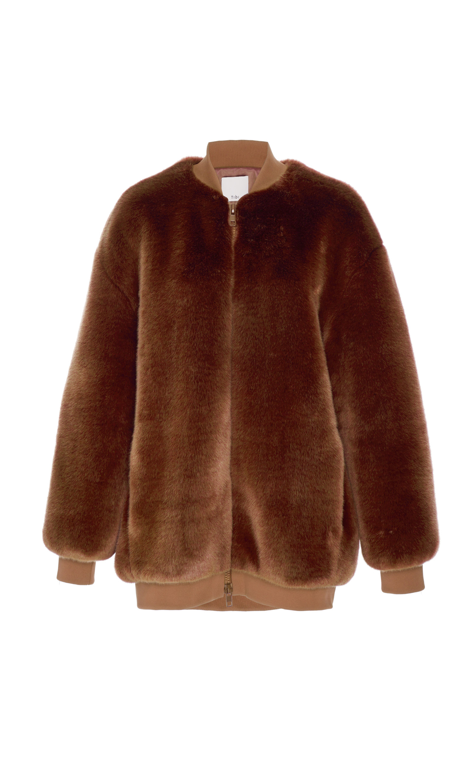 Cocoa Brown Luxe Faux Fur Track Jacket