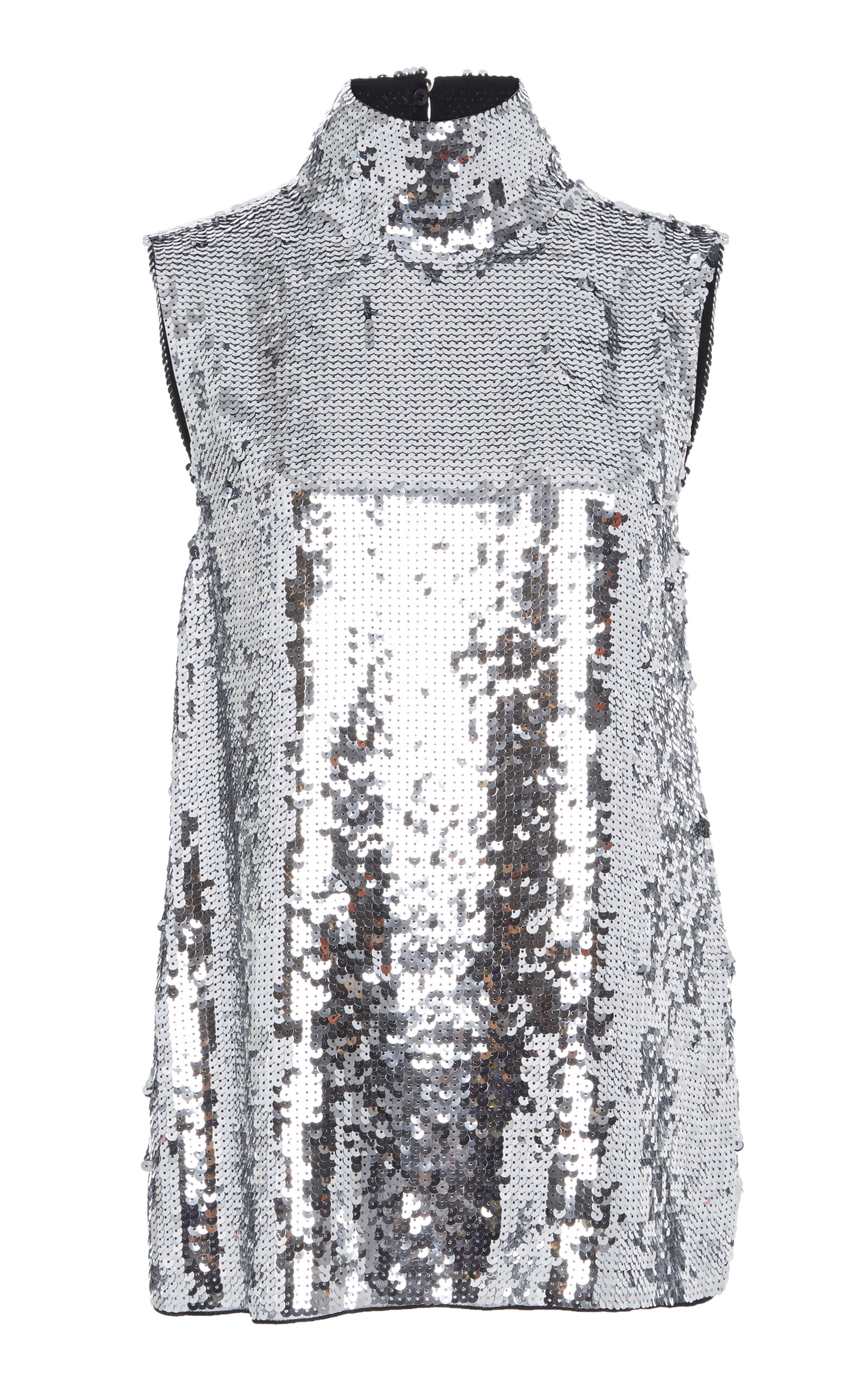 Sleeveless Sequin Turtleneck Shell Top, Silver