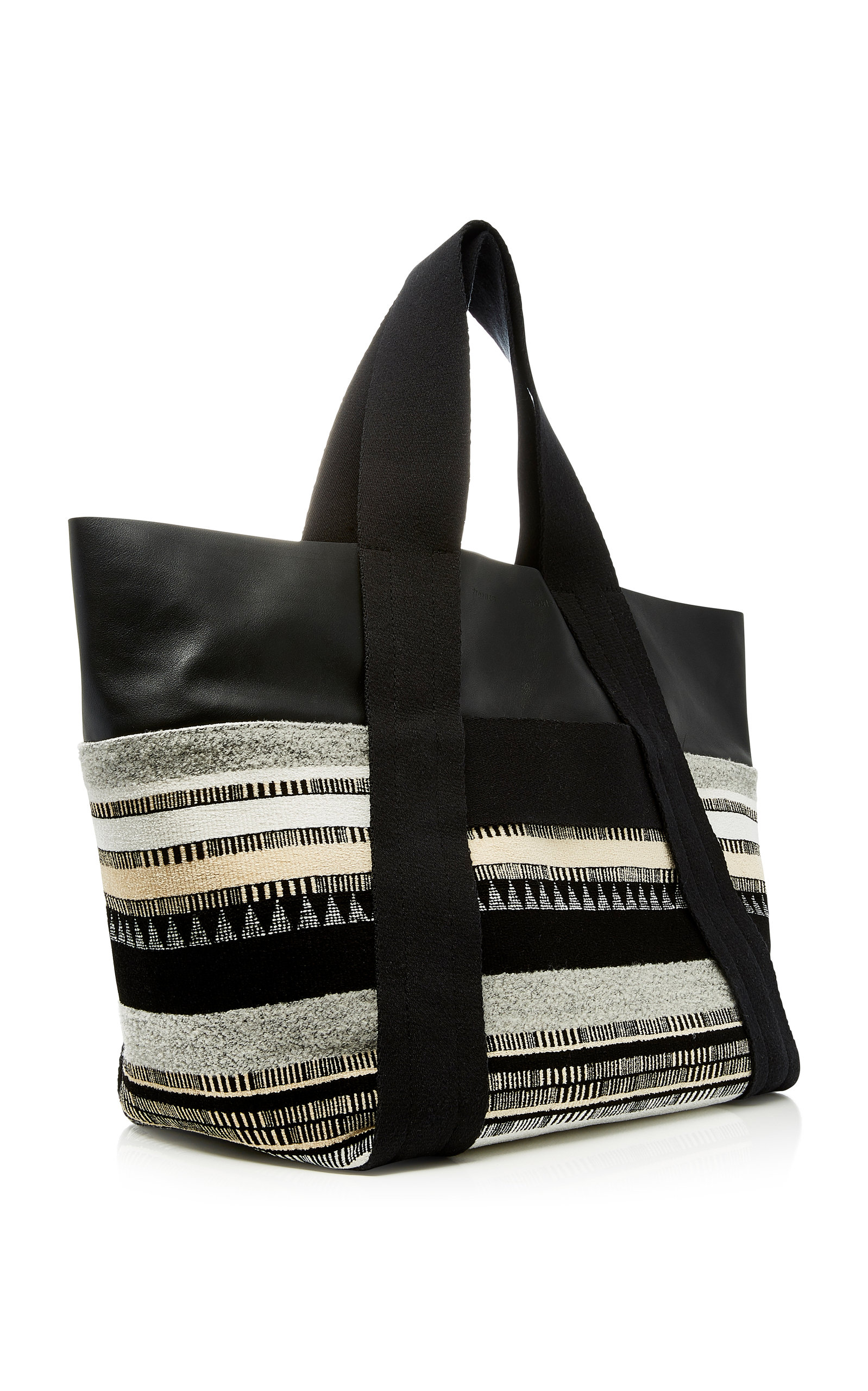 Proenza Schouler Fringed Leather Suede and Jacquard Tote hgWzD9