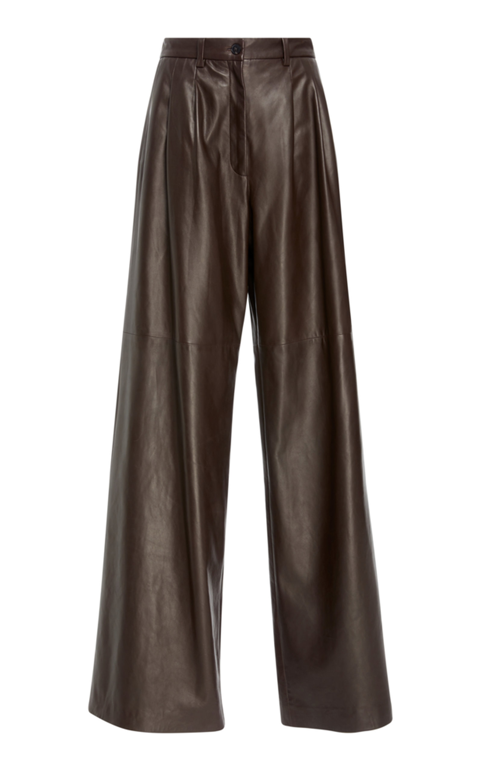Nico Leather Wide-Leg Pants - Brown Size 10