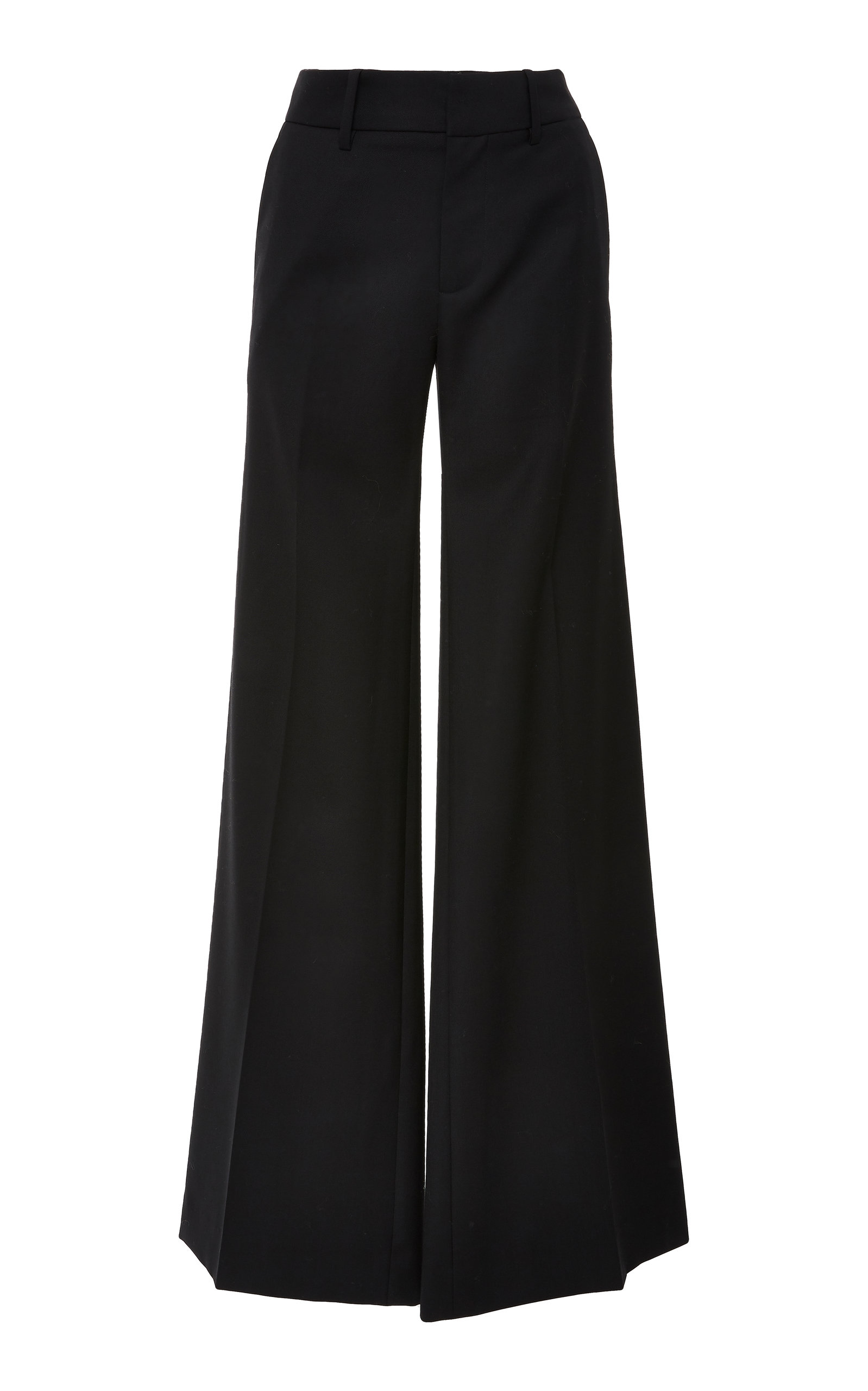 Irene Wool-Twill Wide-Leg Pants, Black
