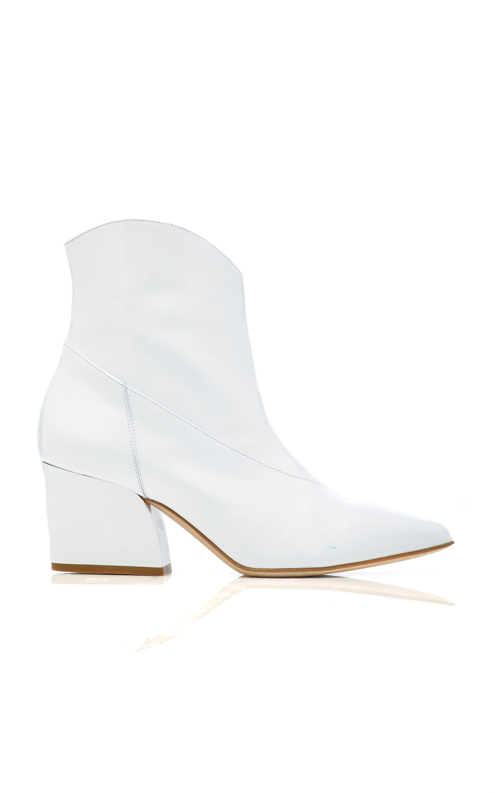 Dylan Patent-Leather Ankle Boots in White