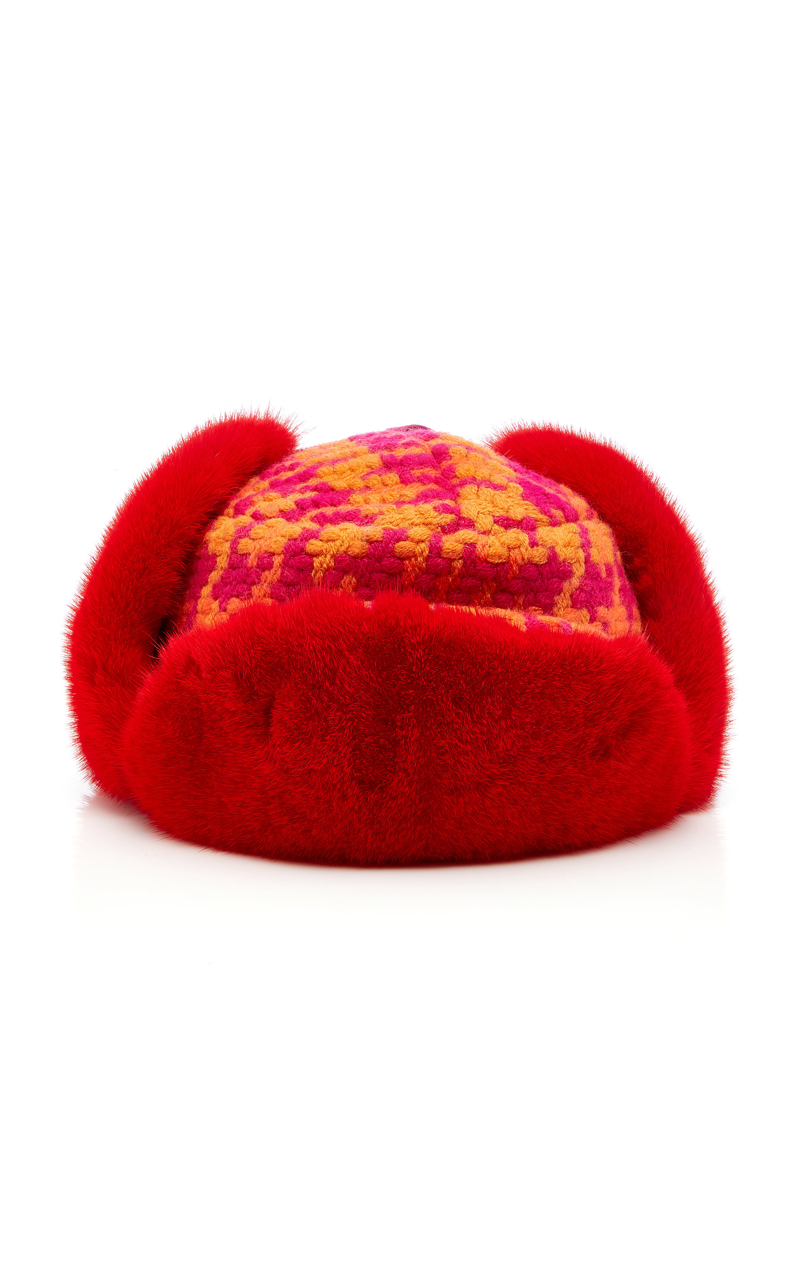 ALBERTUS SWANEPOEL M'O Exclusive Marley Checked Wool And Fox Fur Hat in Red