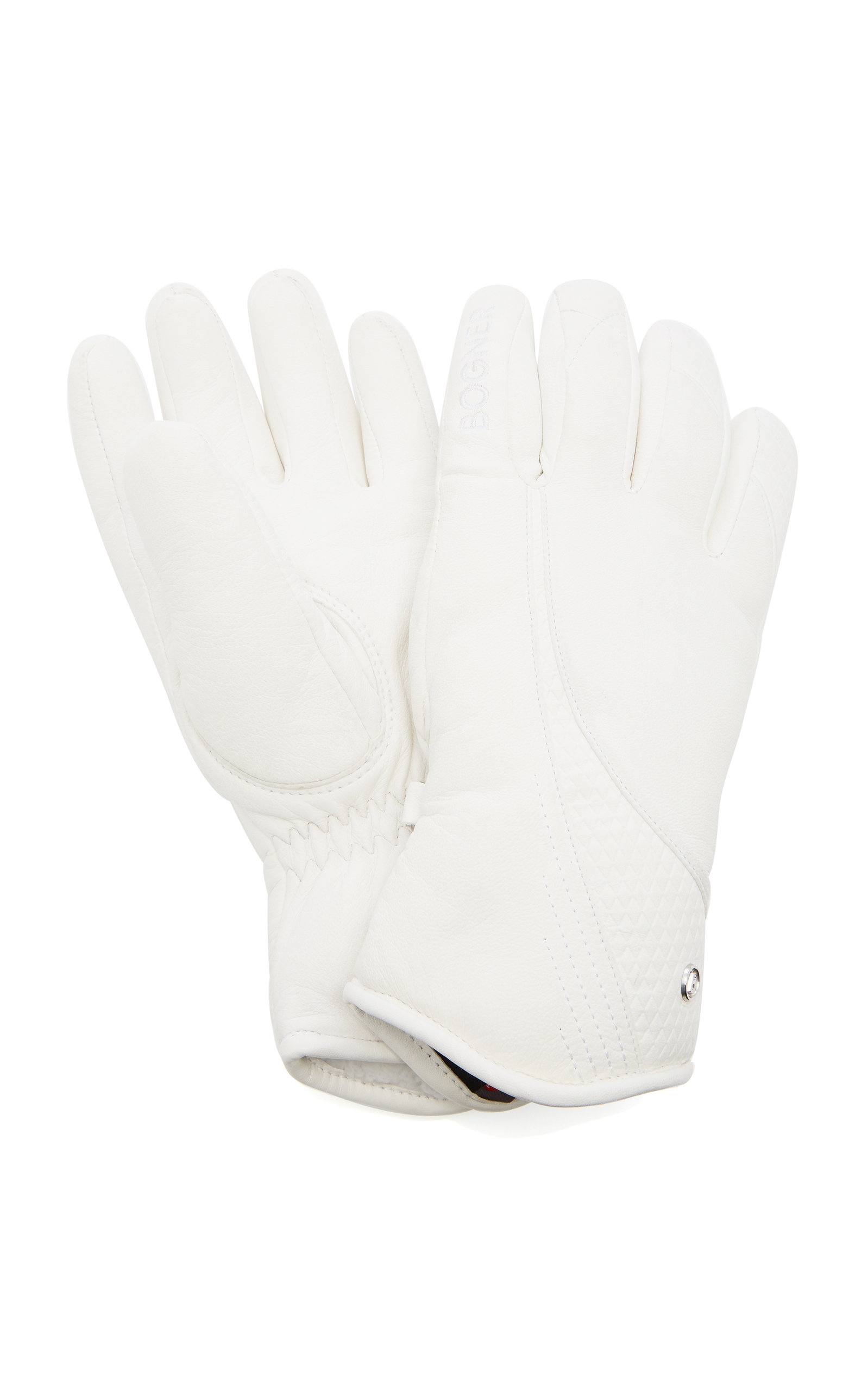 Meli Embossed Leather Ski Gloves in White