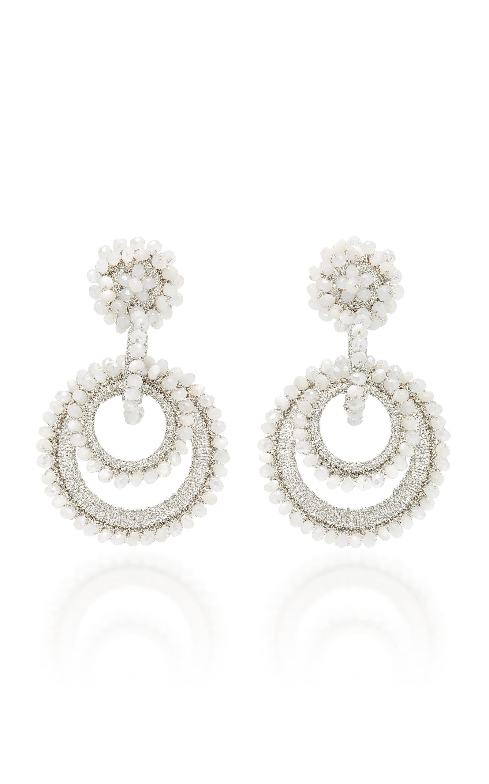 Mini Sundrop Mother-of-pearl, Bead And Silk Earrings - White Bibi Marini
