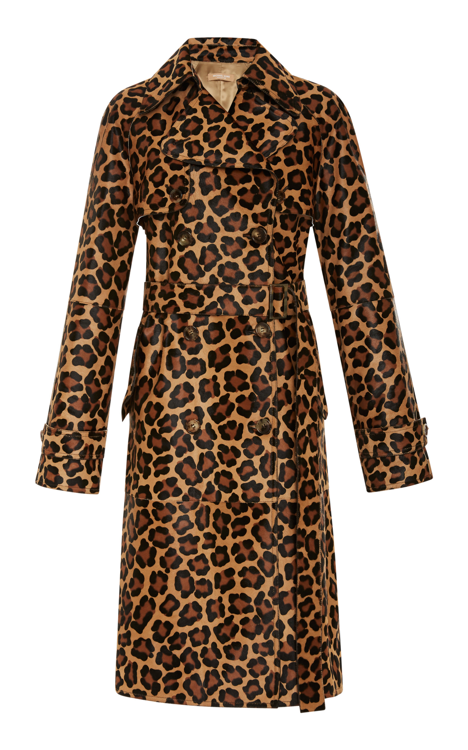 Leopard-Print Double-Breasted Haircalf Trench Coat in Animal