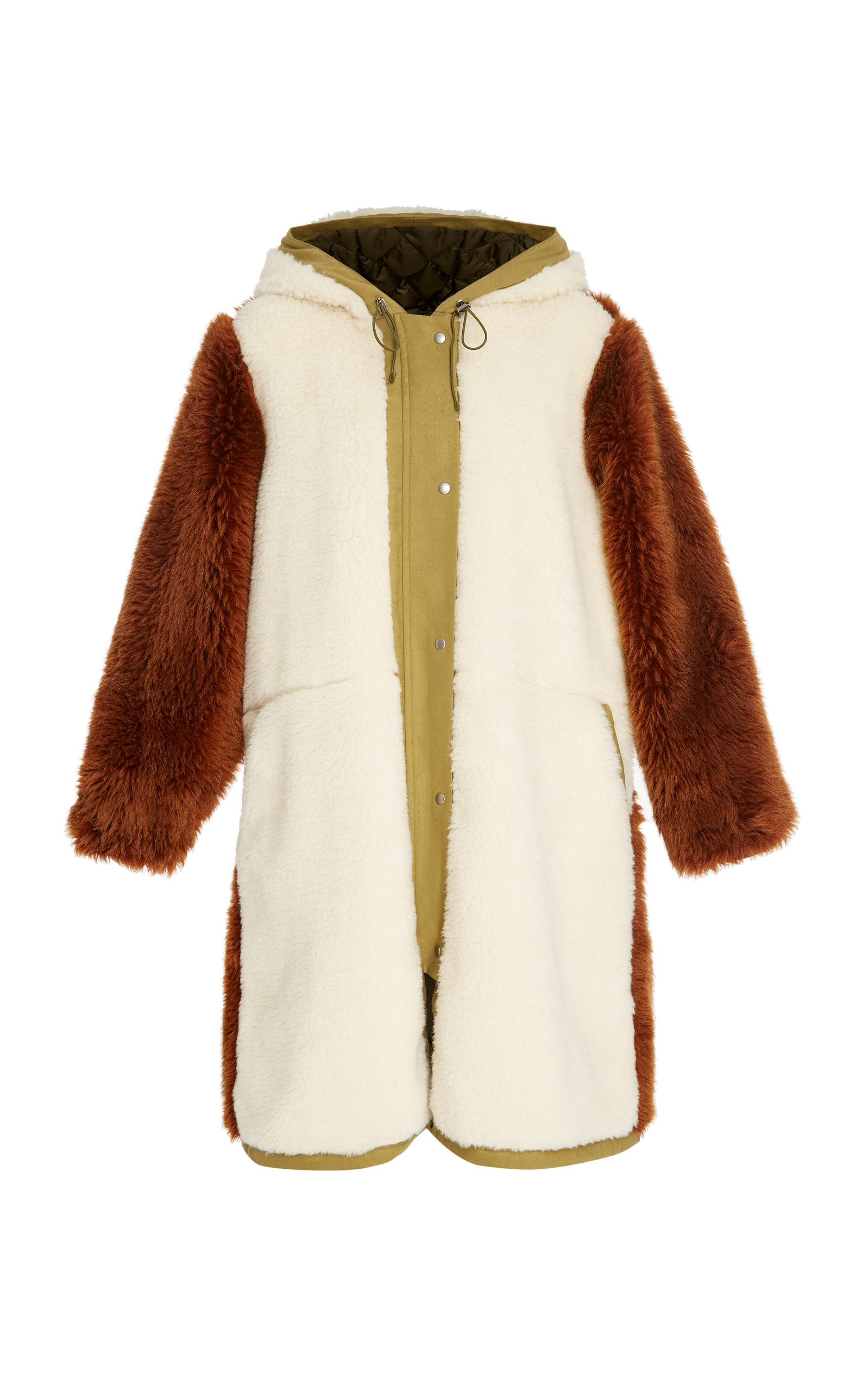 Madeline Canvas-Trimmed Paneled Faux Fur And Faux Shearling Coat in Green