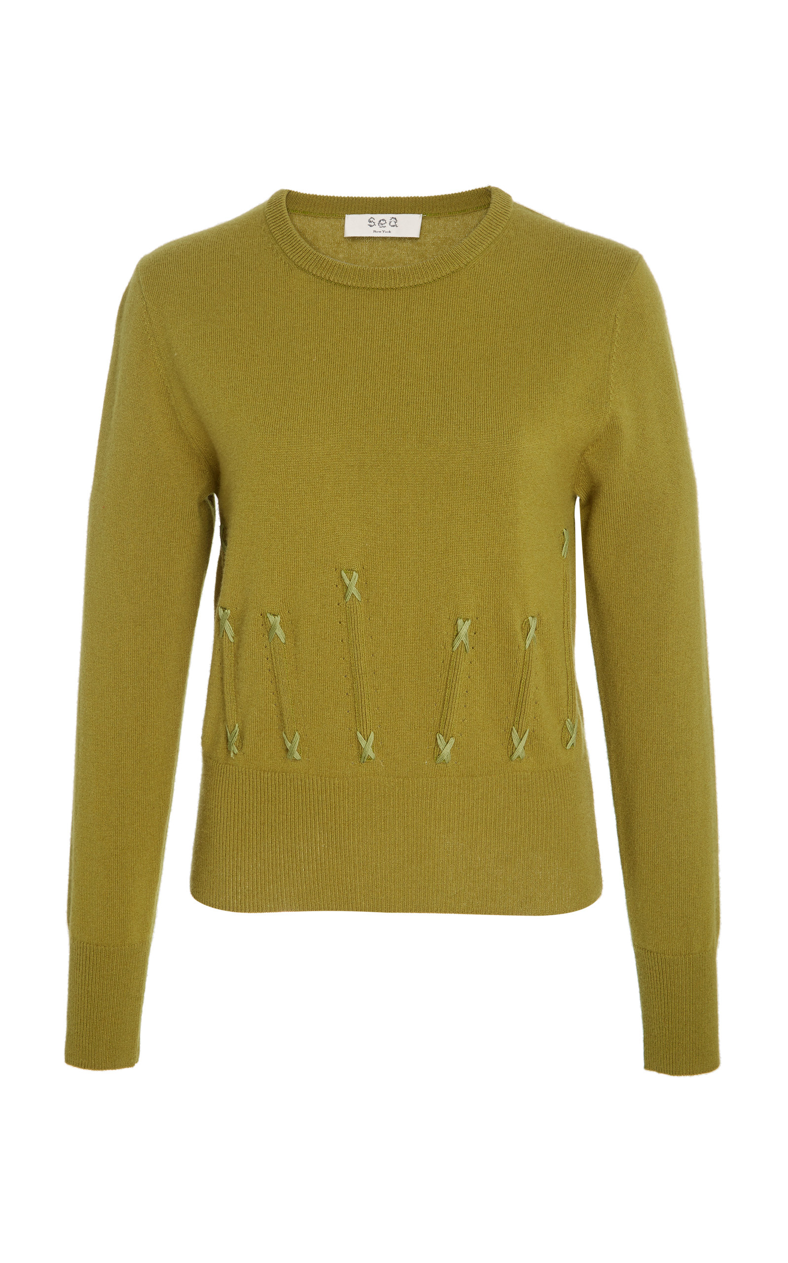 SEA Cailyn Corset Knit Cashmere Sweater in Green