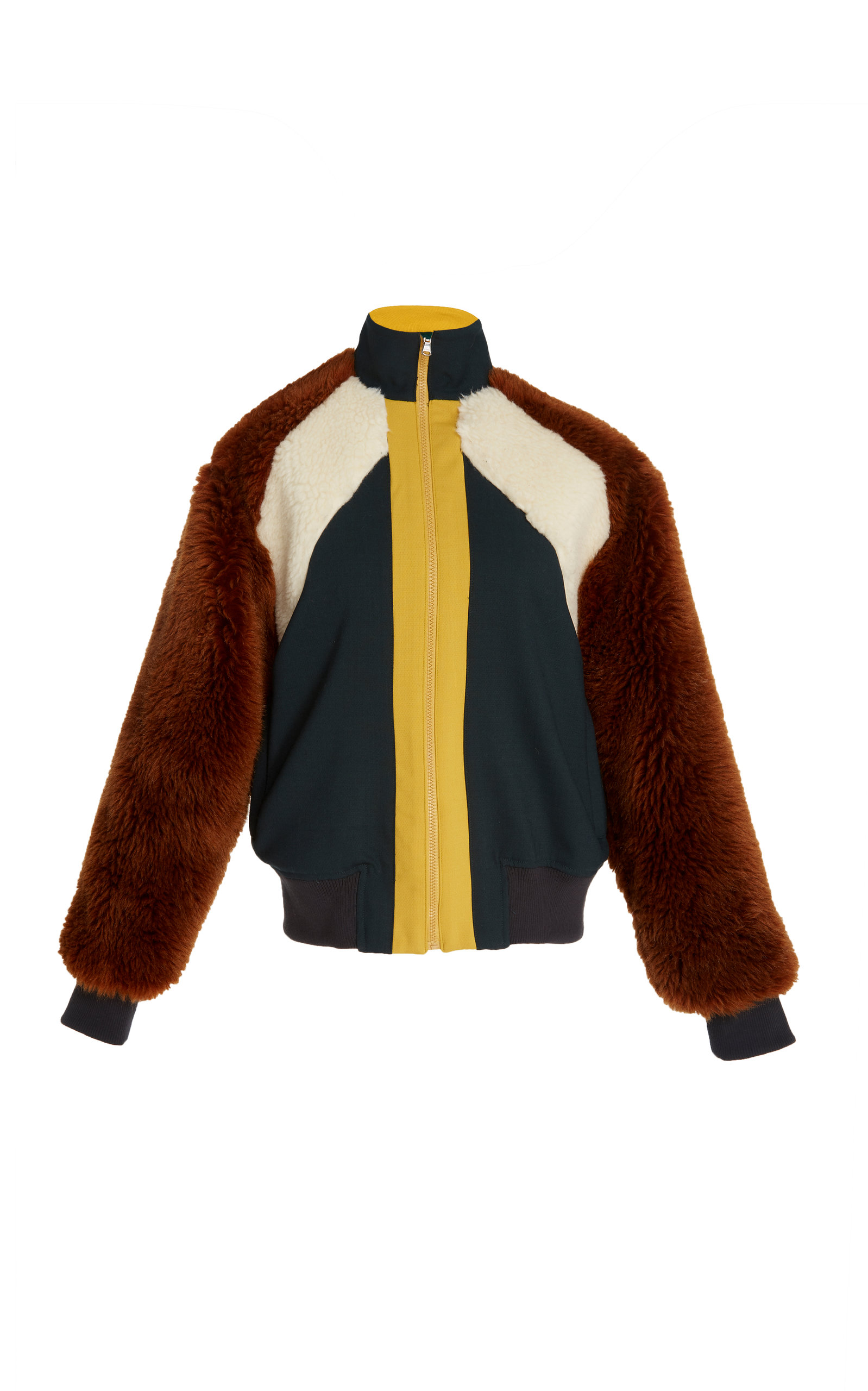 SEA Color-Block Jersey, Faux Fur And Faux-Shearling Track Jacket in Green