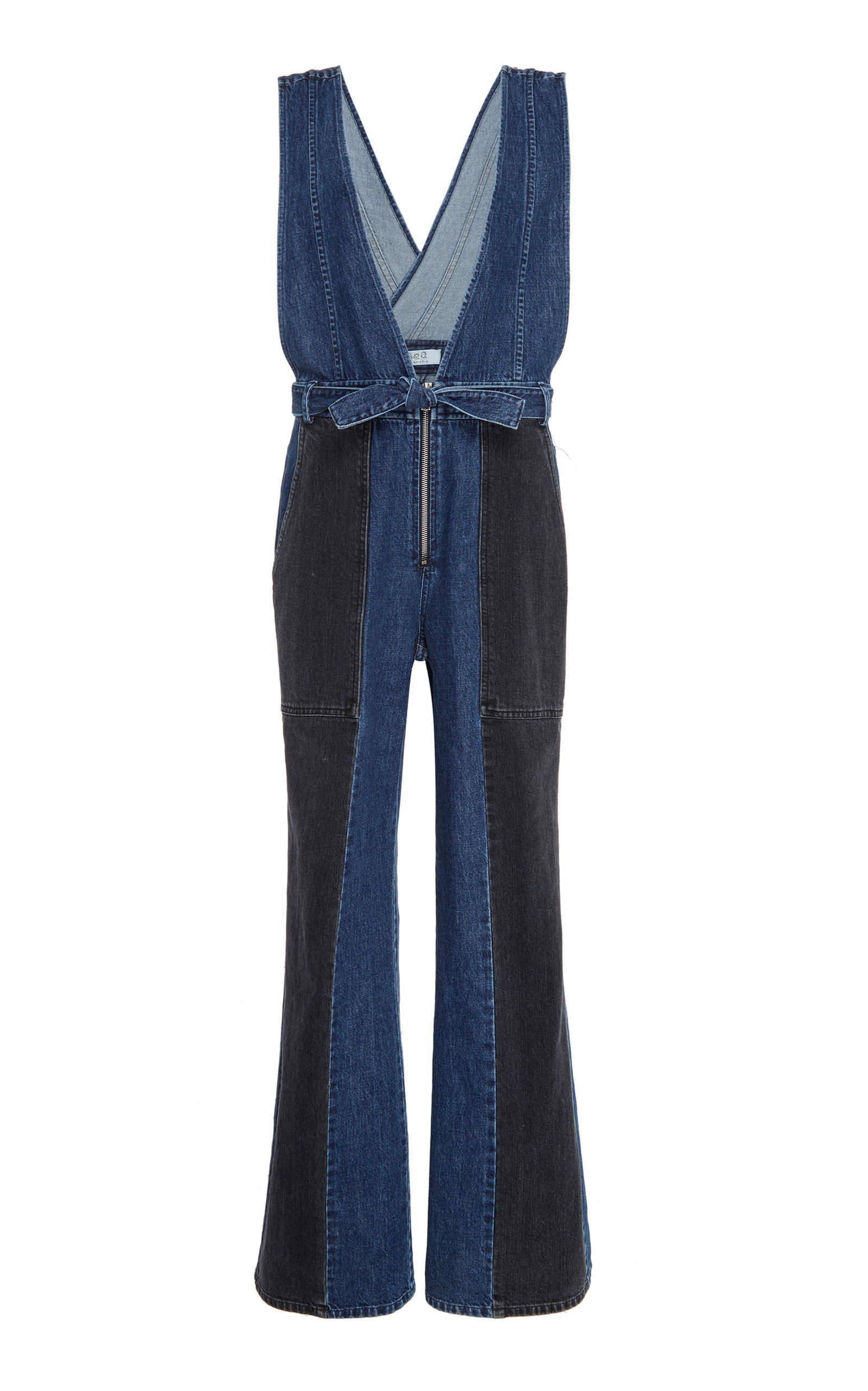 TWO-TONE DENIM JUMPSUIT