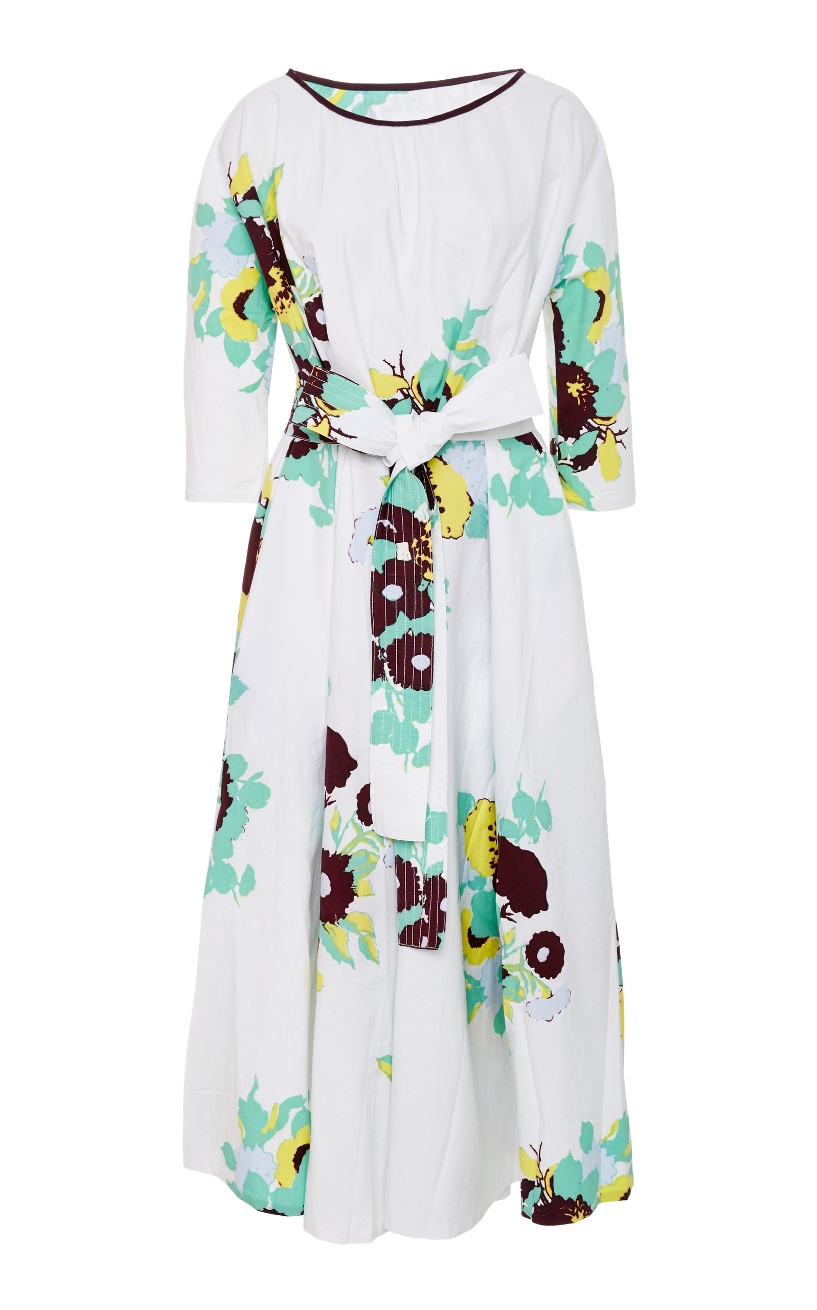 YVONNE S BELTED STRETCH-COTTON MAXI DRESS