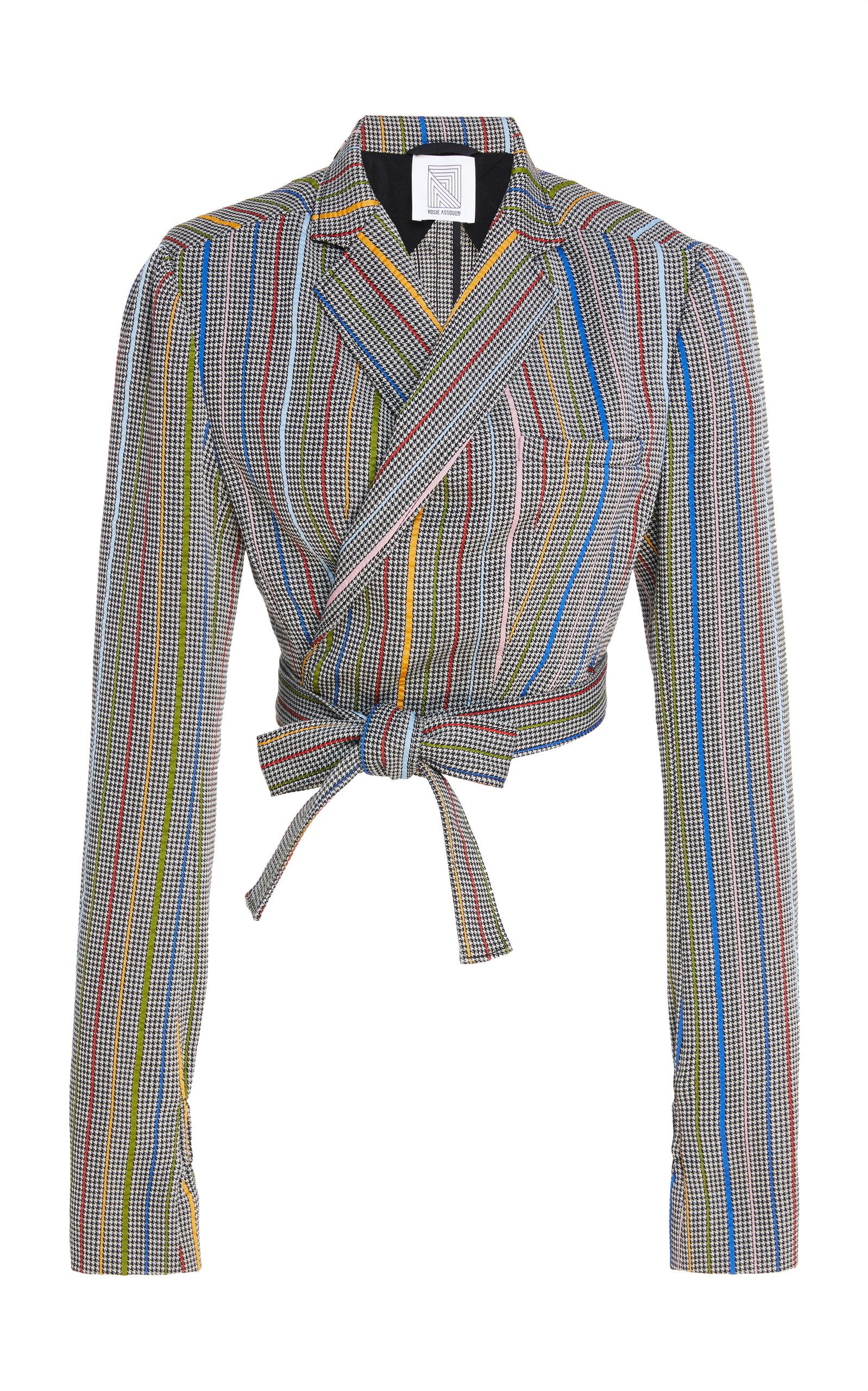 ROSIE ASSOULIN Cropped Wool And Silk-Blend Jacquard Wrap Blazer in Grey