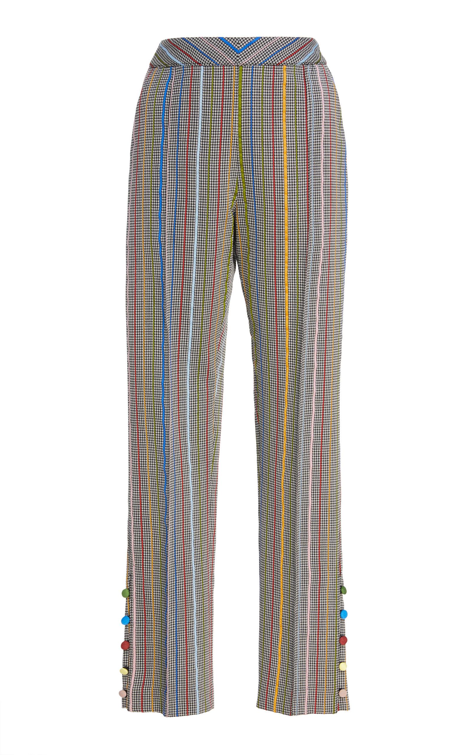 Oboe Wool And Silk-Blend Jacquard Slim-Leg Pants in Multicolour