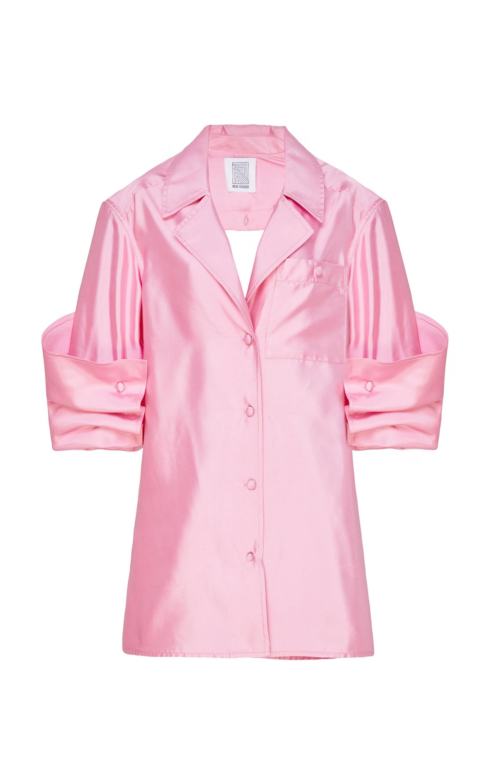 Peek-A-Boo Silk-Satin Shirt, Pink