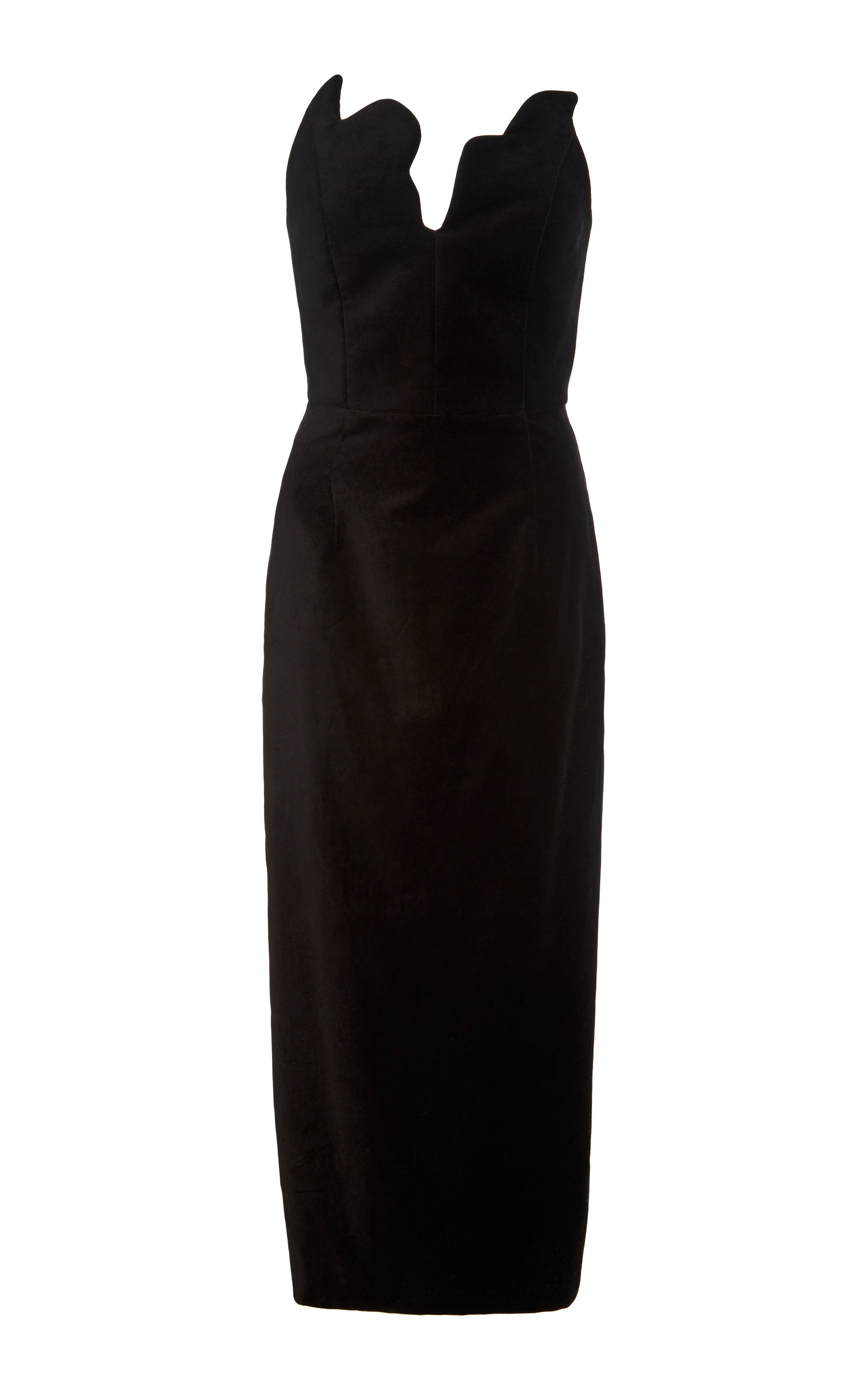 Scalloped Bustier Velvet Midi Dress in Black