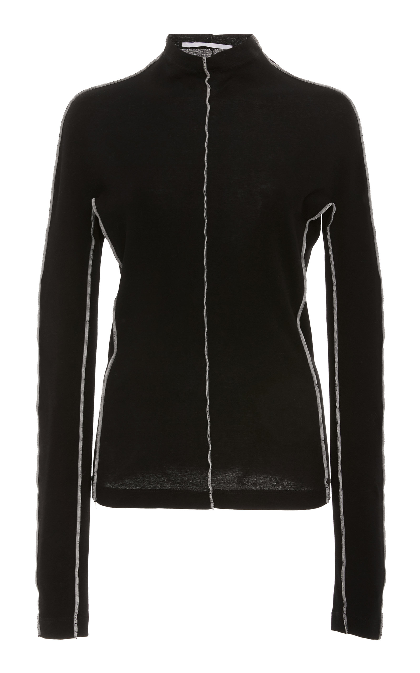 ROSETTA GETTY Mock-Neck Long-Sleeve Reverse-Seam Cotton Jersey Top in Black